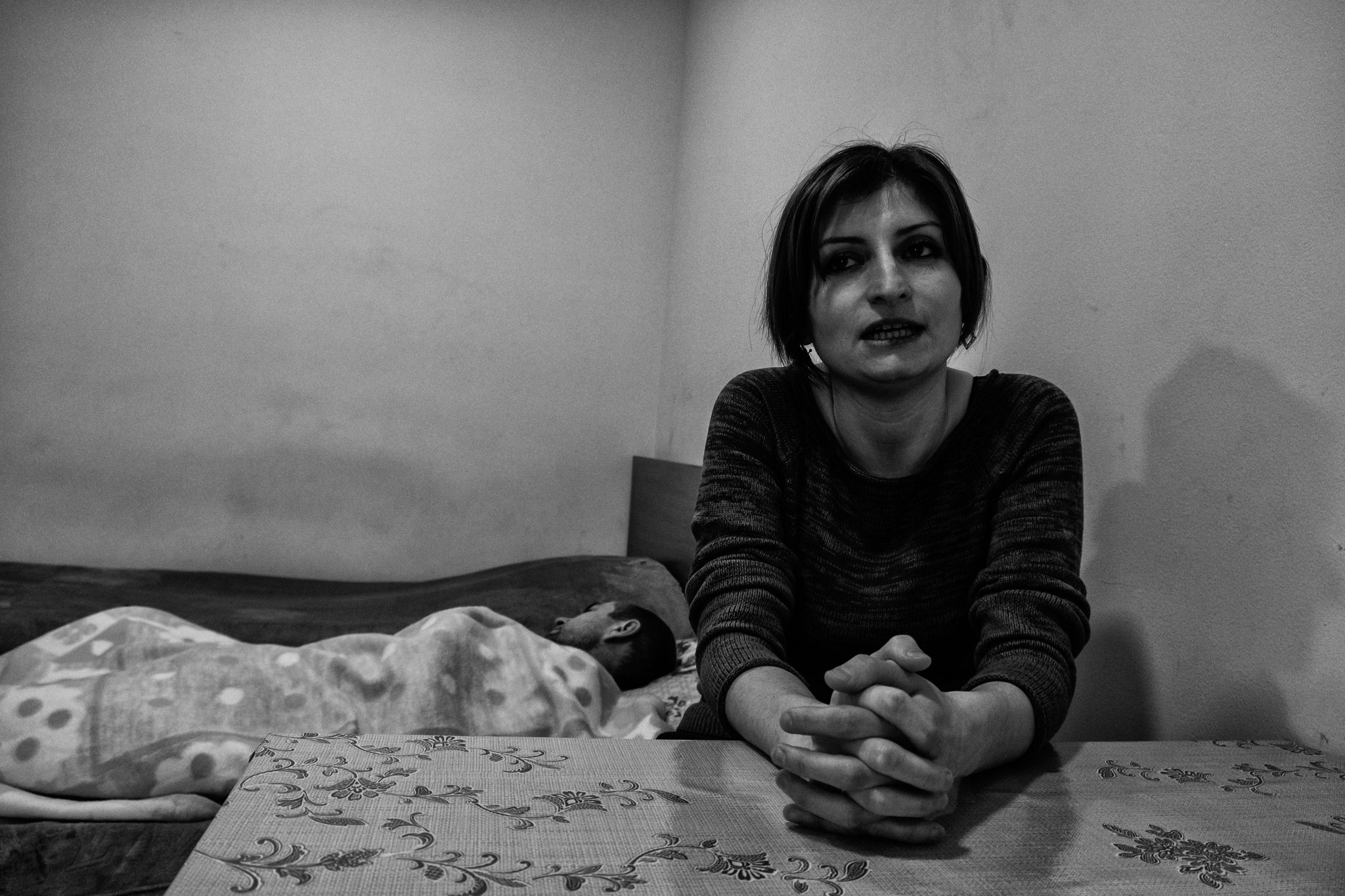 Dormitory, Yerevan. Wounded husband in the back.