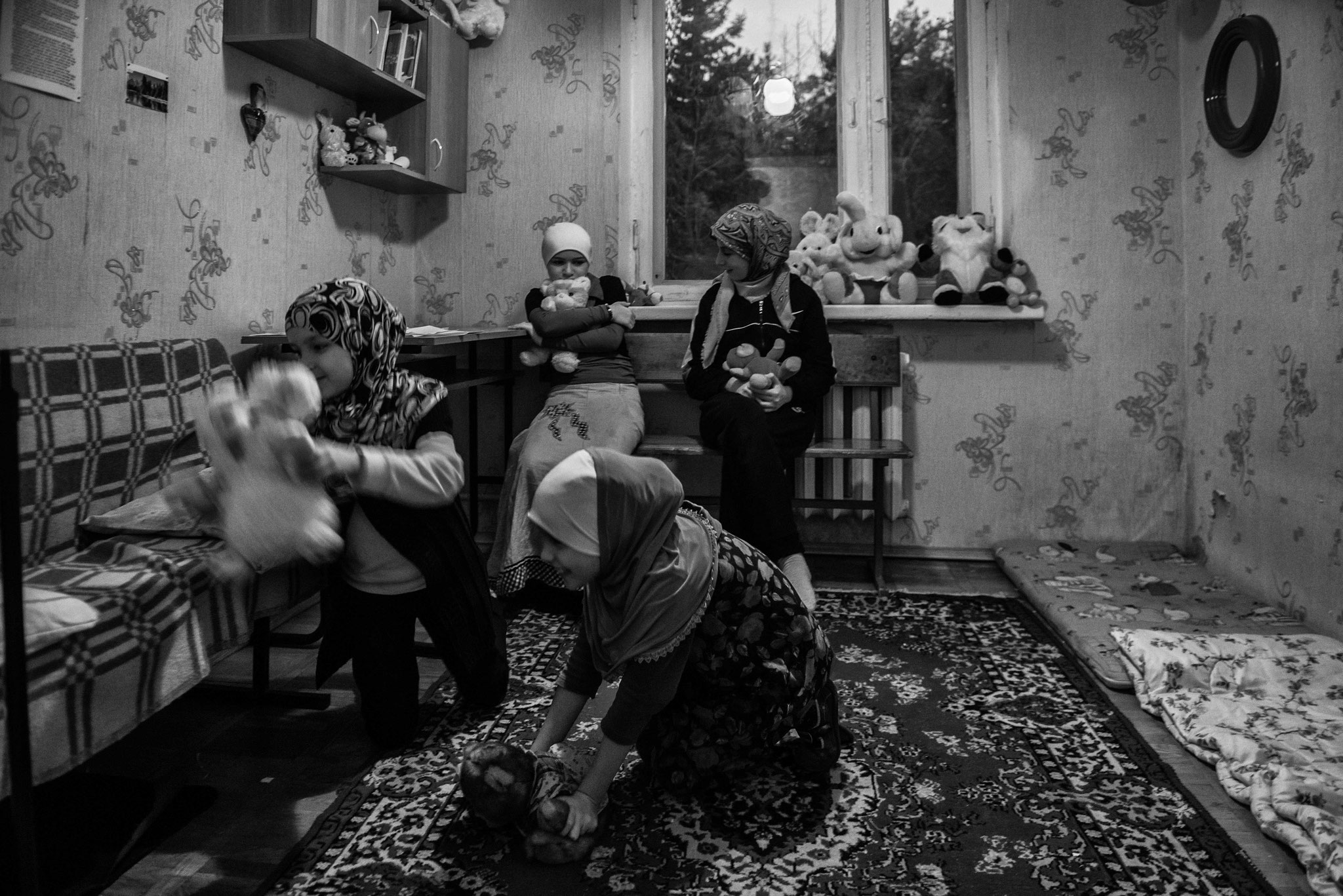 Collective House for IDPs, a former youth camp. Occupied by a community of Crimea Tartars. near Kiev Nov. 2014
