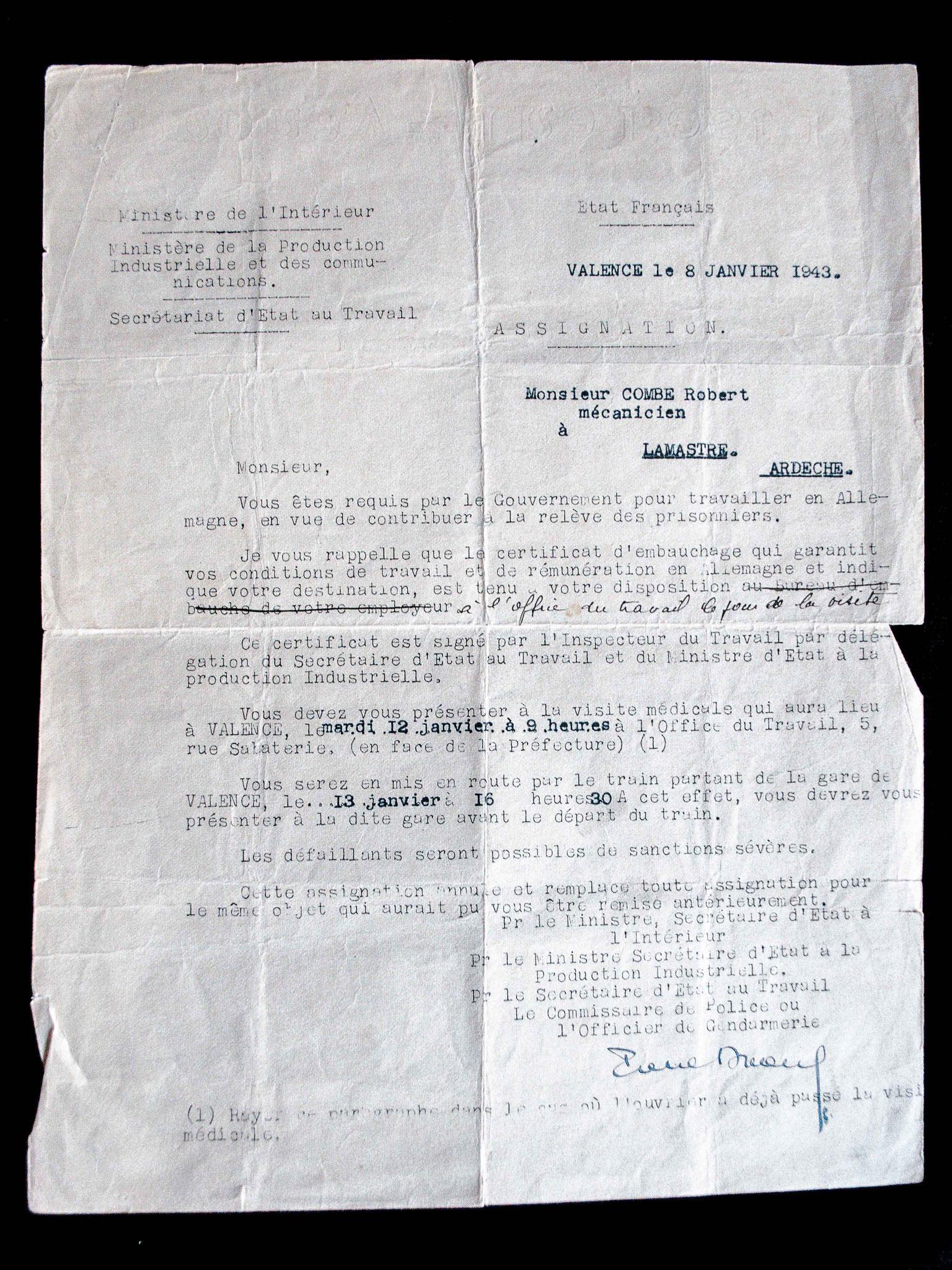 Appel au S.T.O, 1943