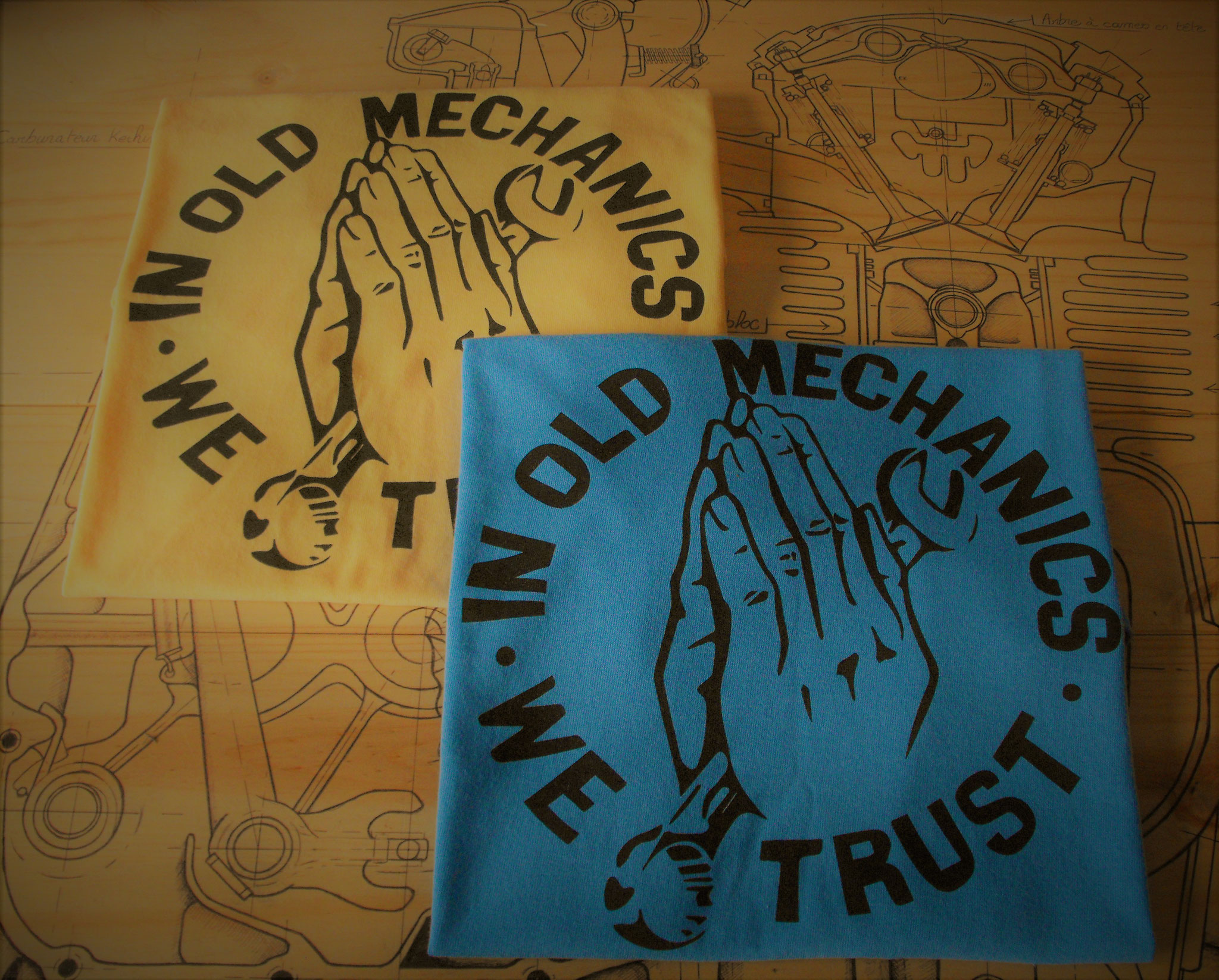 "Tee-shirts coton ""In Old Mechanics We Trust"""