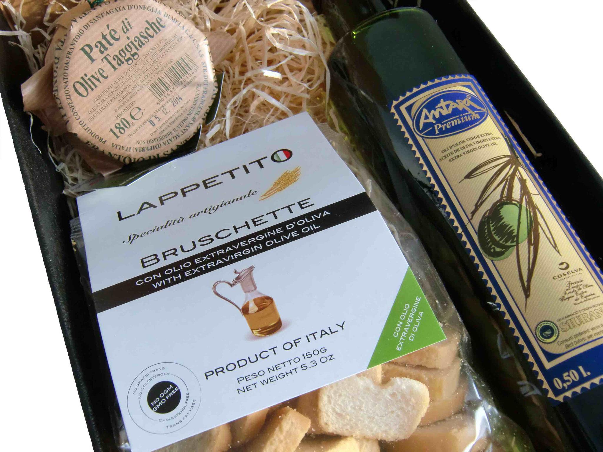 2er Geschenkspackung mit 1/2 l Antara Olivenöl, Paté & Bruschette