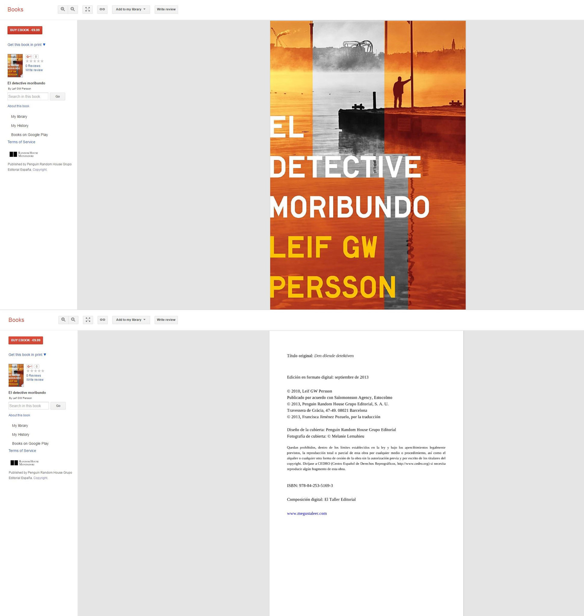 Couverture du roman El Detective Morimbundo - Leif GW Persson