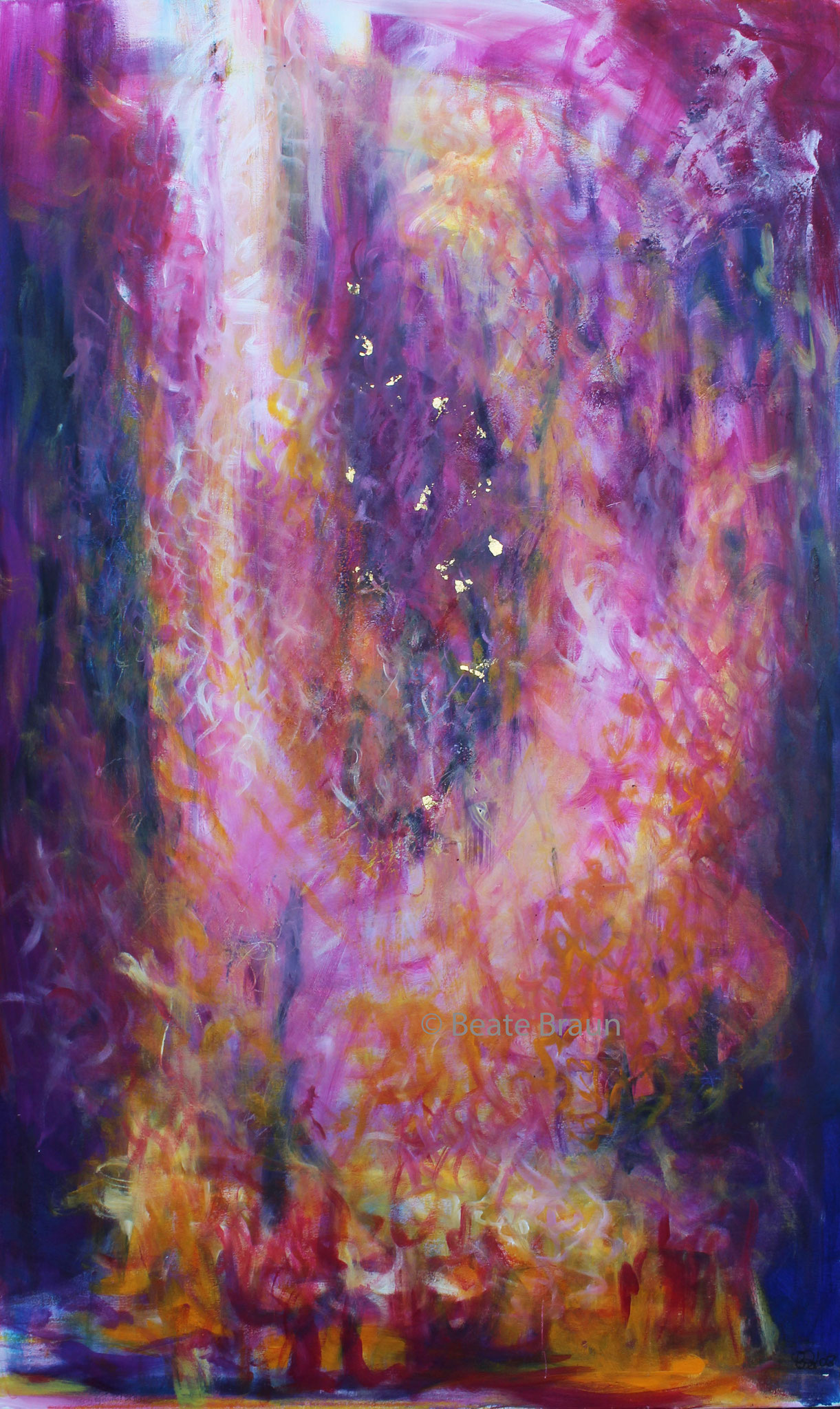 violetter Strahl | 130 x 190 cm | Mischtechnik mit Blattgold auf Leinwand | 2008