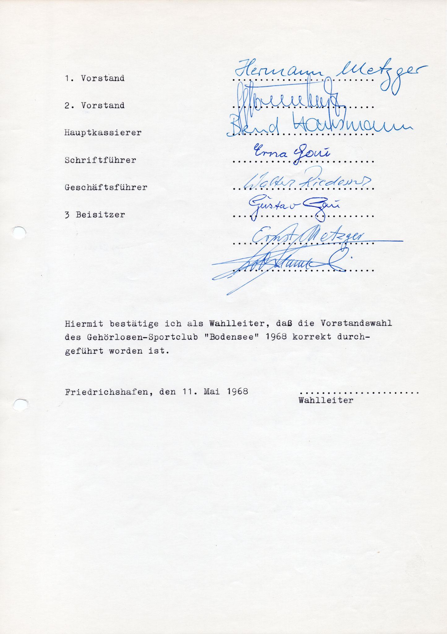 Protokoll Wahlversammlung 11.05.1968