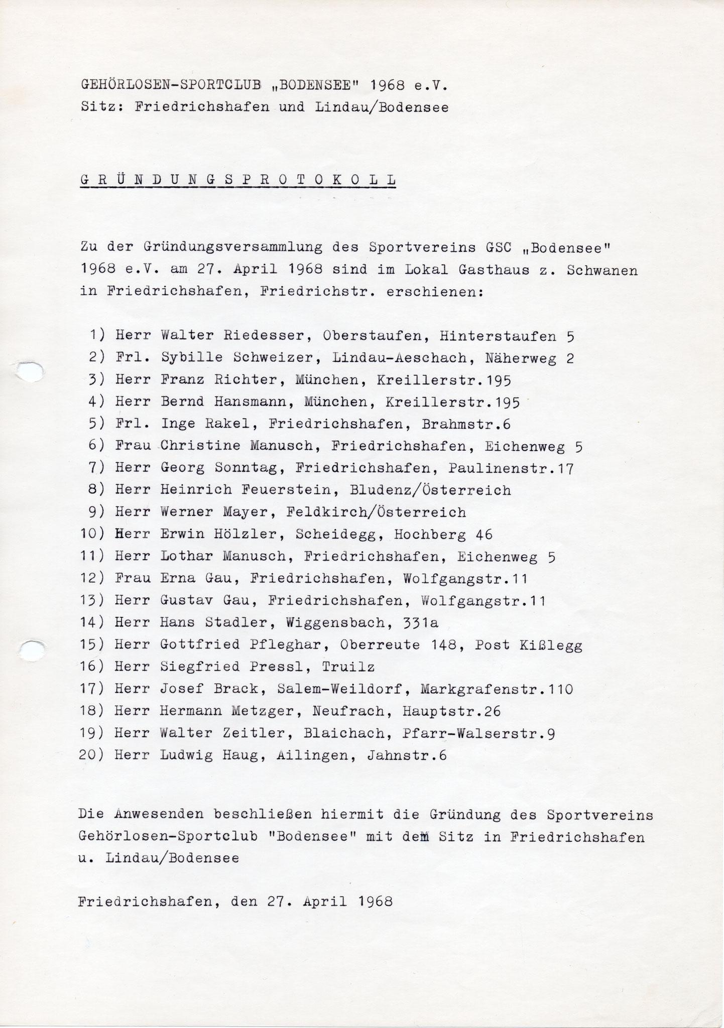 Anwesendheitsmitglieder Gründungsversammlung 27.04.1968