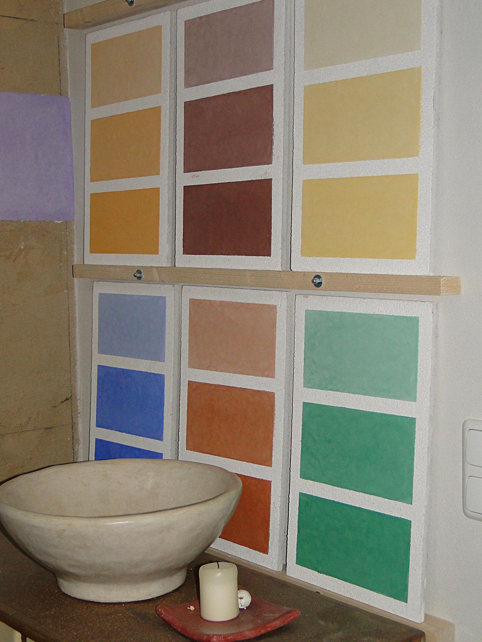 neue Musterplatten zeigen die prozentuale Abstufung der zugegebenen Pigmente (1, 5, 10 %)