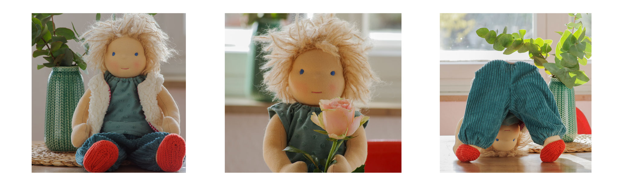 Collage mit blonder Puppe für Jungen handgemacht nach dem Vorbild der Waldorfpuppe