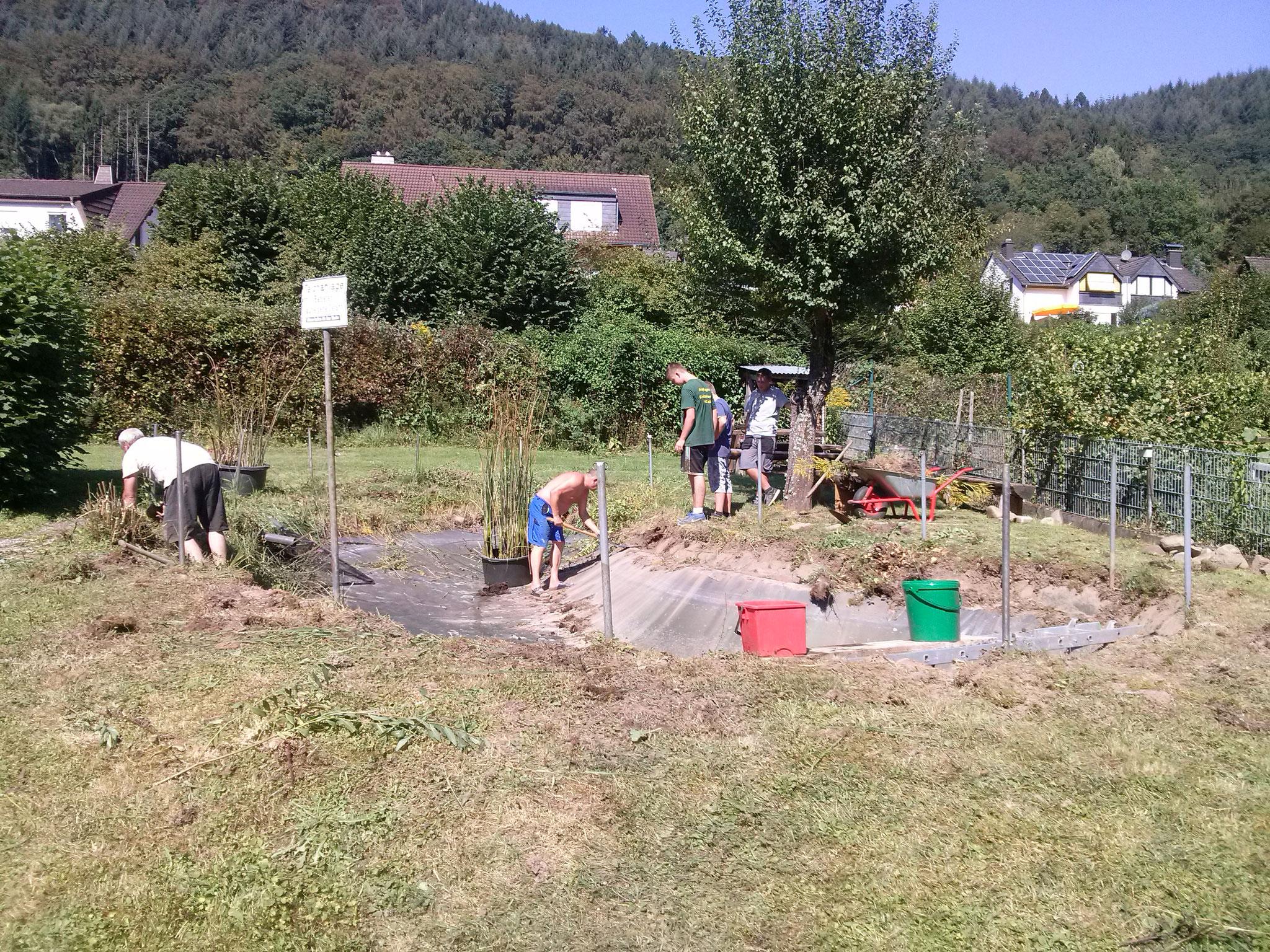 ... dann ist der Schlamm drausen und die Arbeiten am Teichrand beginnen