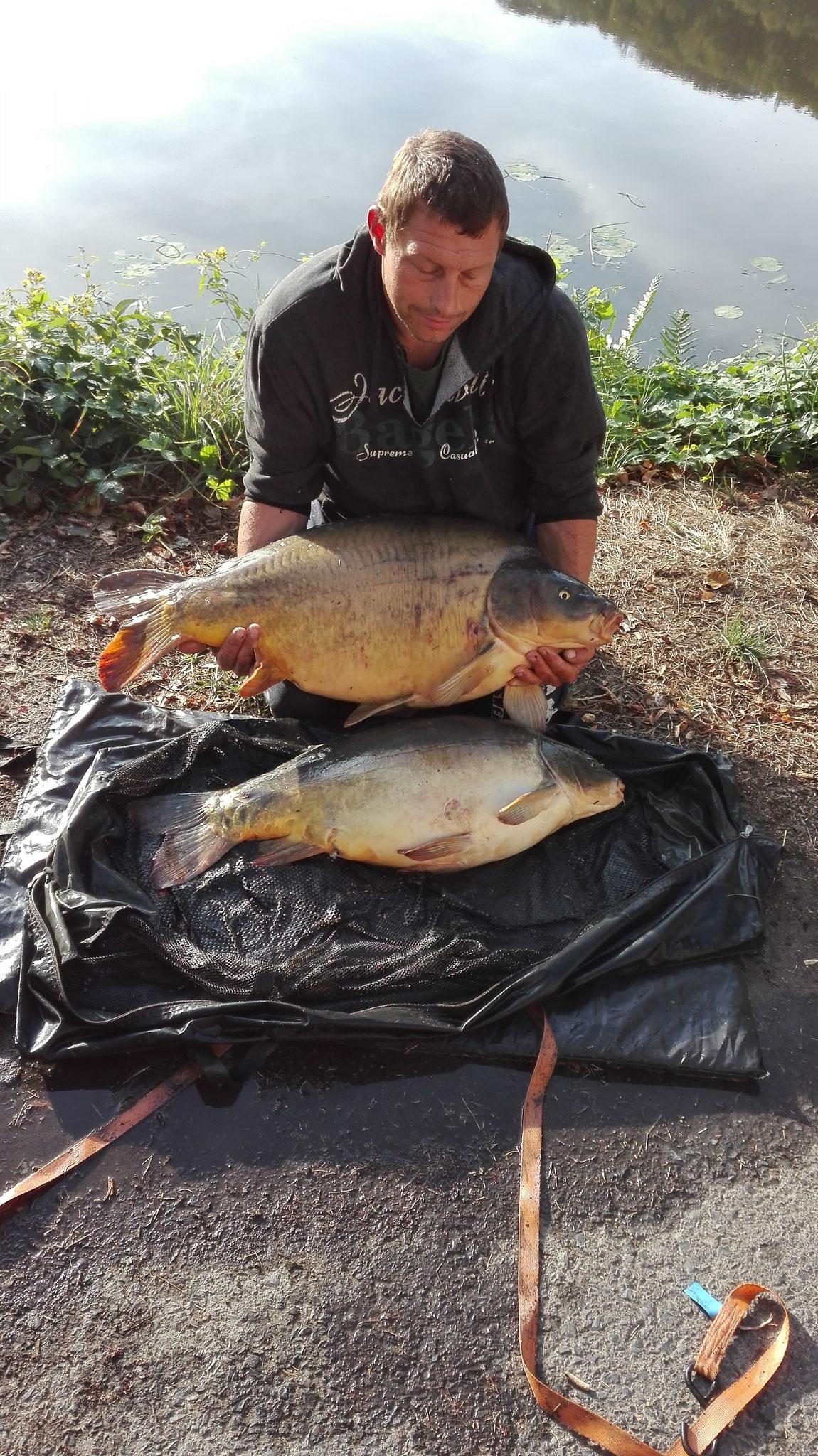 Spiegelkarpfen 20,8kg & 13 kg