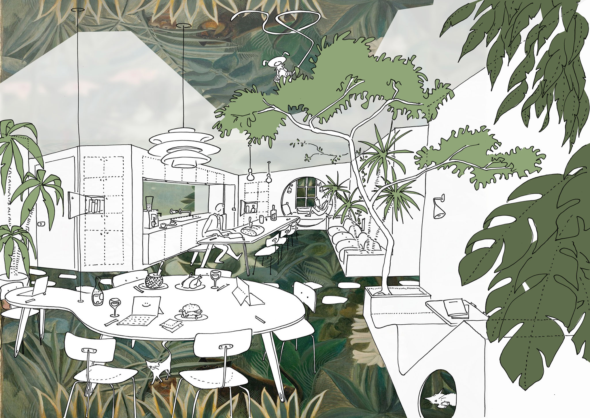 Croquis d'intention pour la cuisine jungle - Concept art for the jungle kitchen