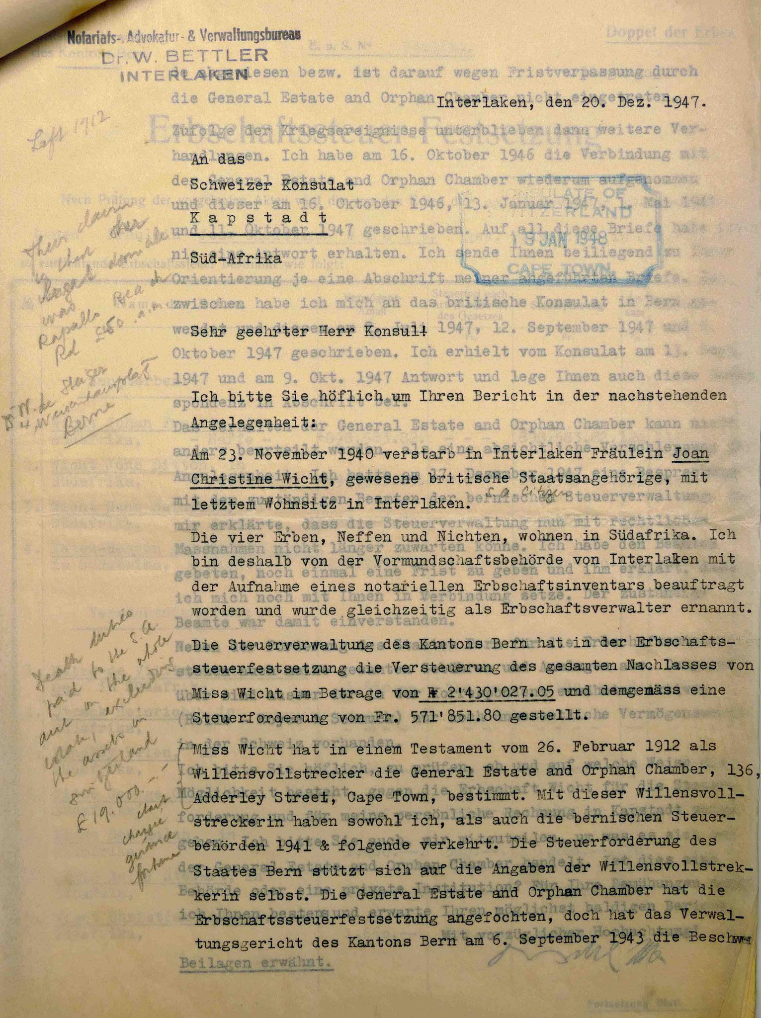 Dokumente aus dem Bundesarchiv Bern