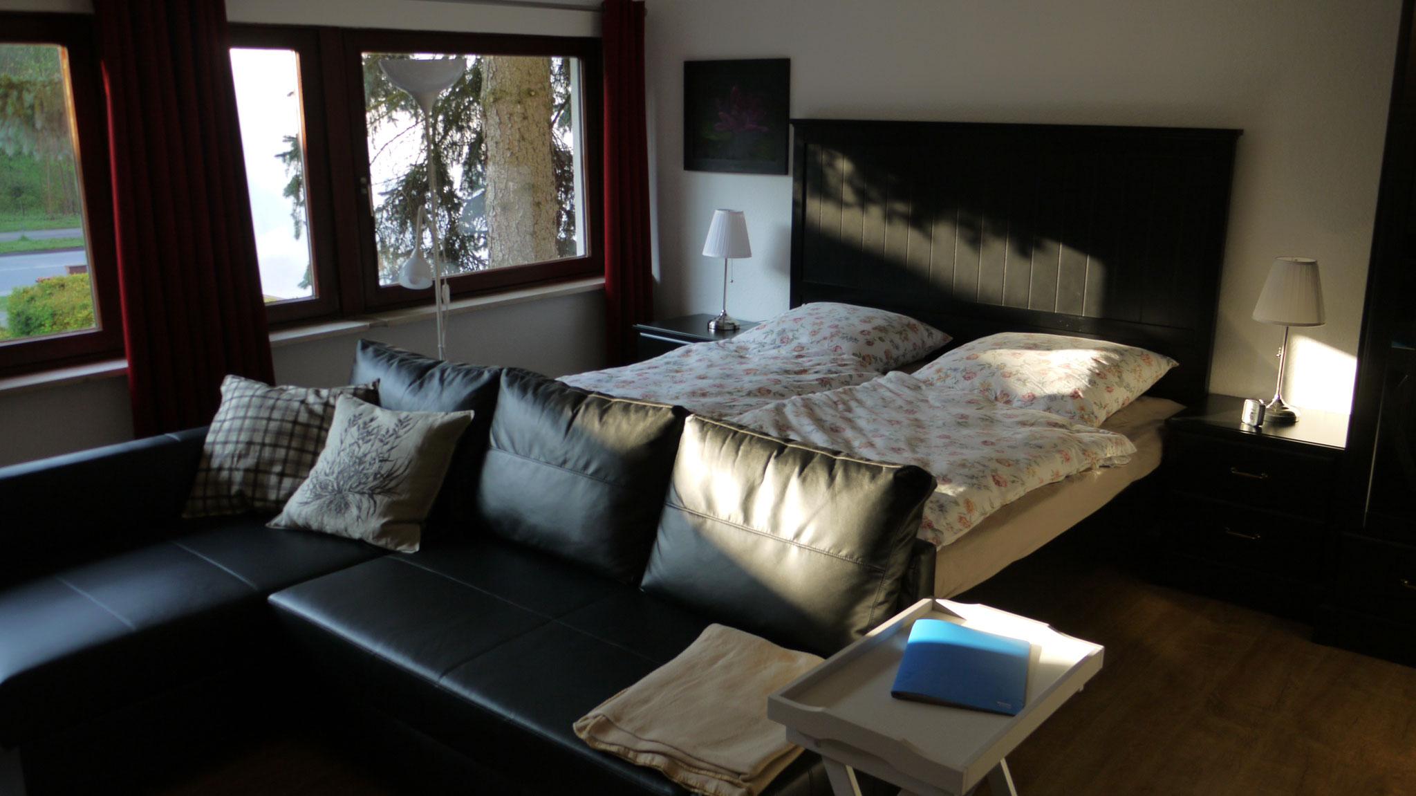 Schlafbereich mit ausziehbarer Couch