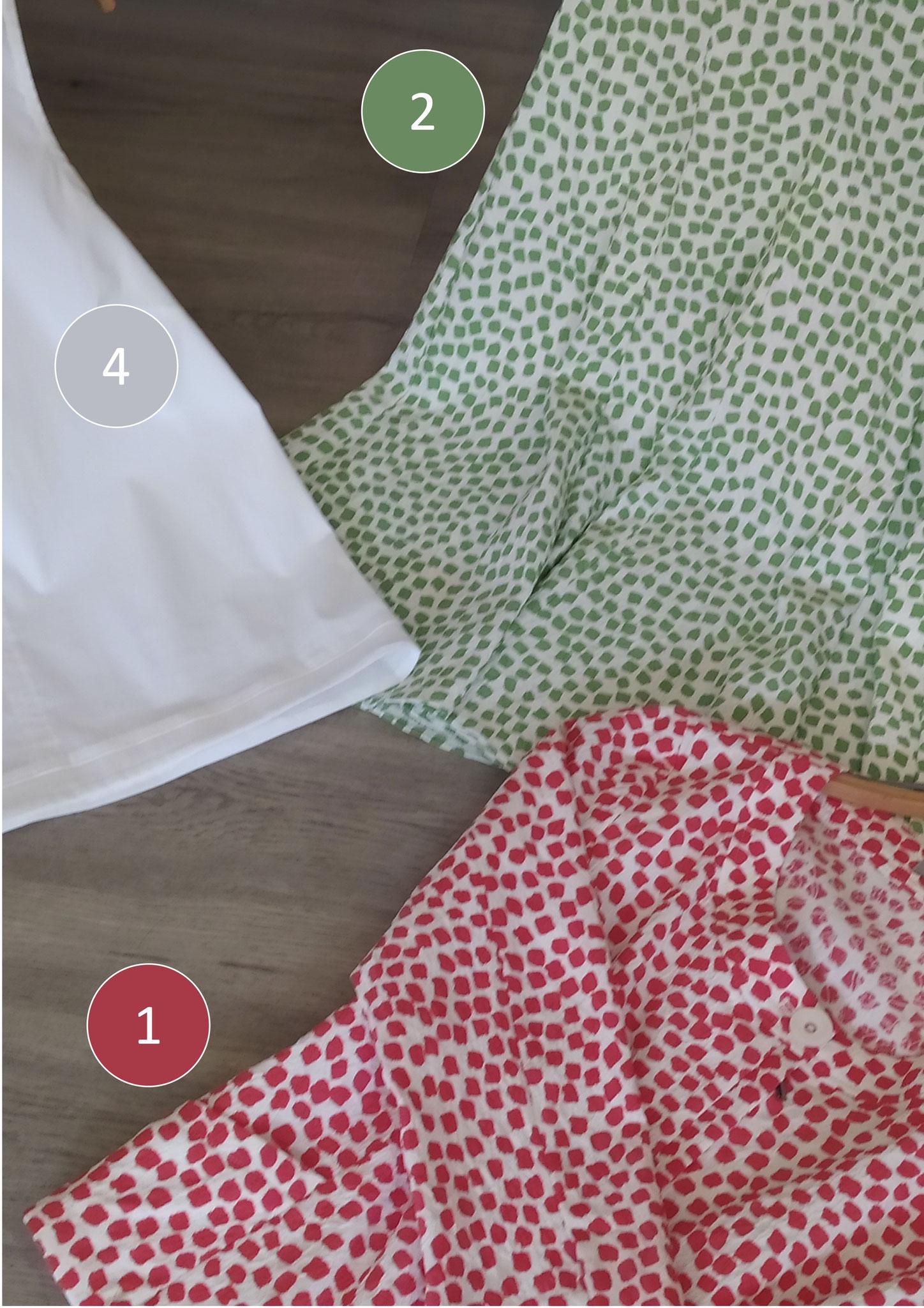 4. Top, Baumwolle (79 €), 2. Druckkleid (129 €), 1. Druckjacke, kurz, rot (119 €)