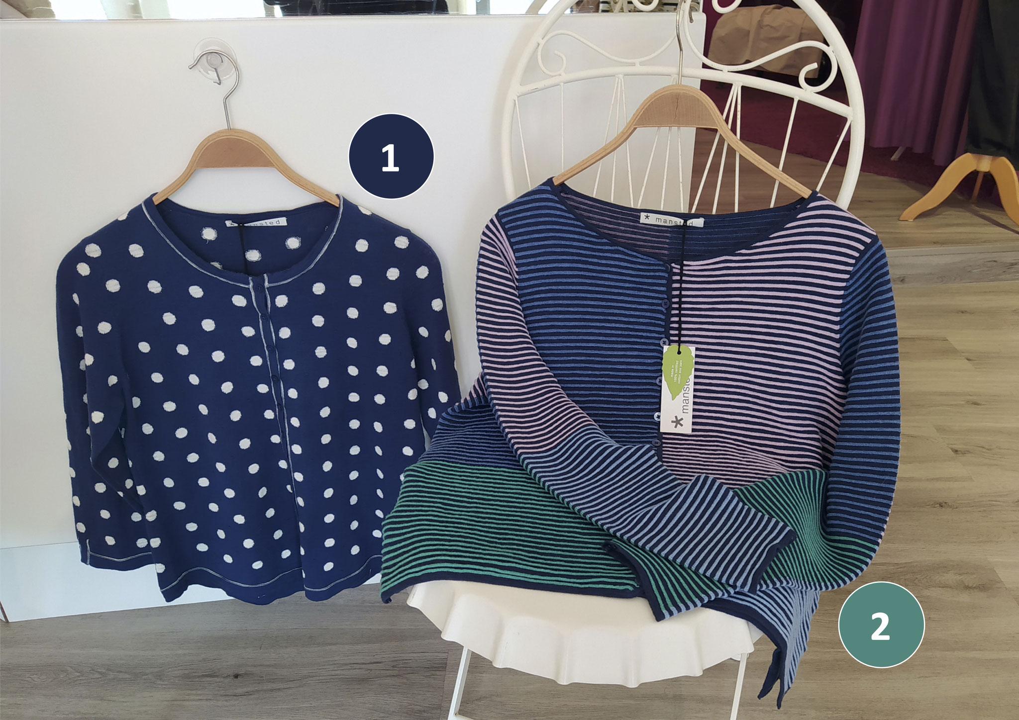 1. Pulli Jacke, Baumwolle (119€), 2. Streifen-Jacke, weit, Baumwolle (119€)
