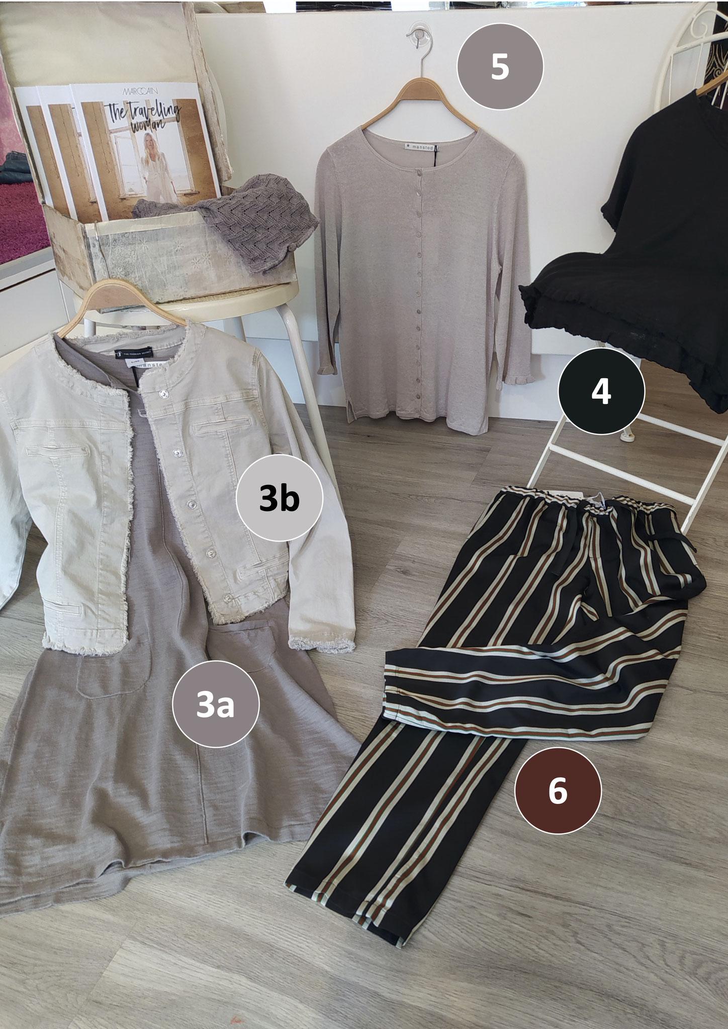 3a. Kurzarm-Kleid, Baumwolle (109€), 3b. Jeansjacke Fashion Secret (99,90€), 4. Kurzarm-Pulli, Leinen/Hanf (99,90€), 6. Streifenhose Closed (99€, vorher 229€)
