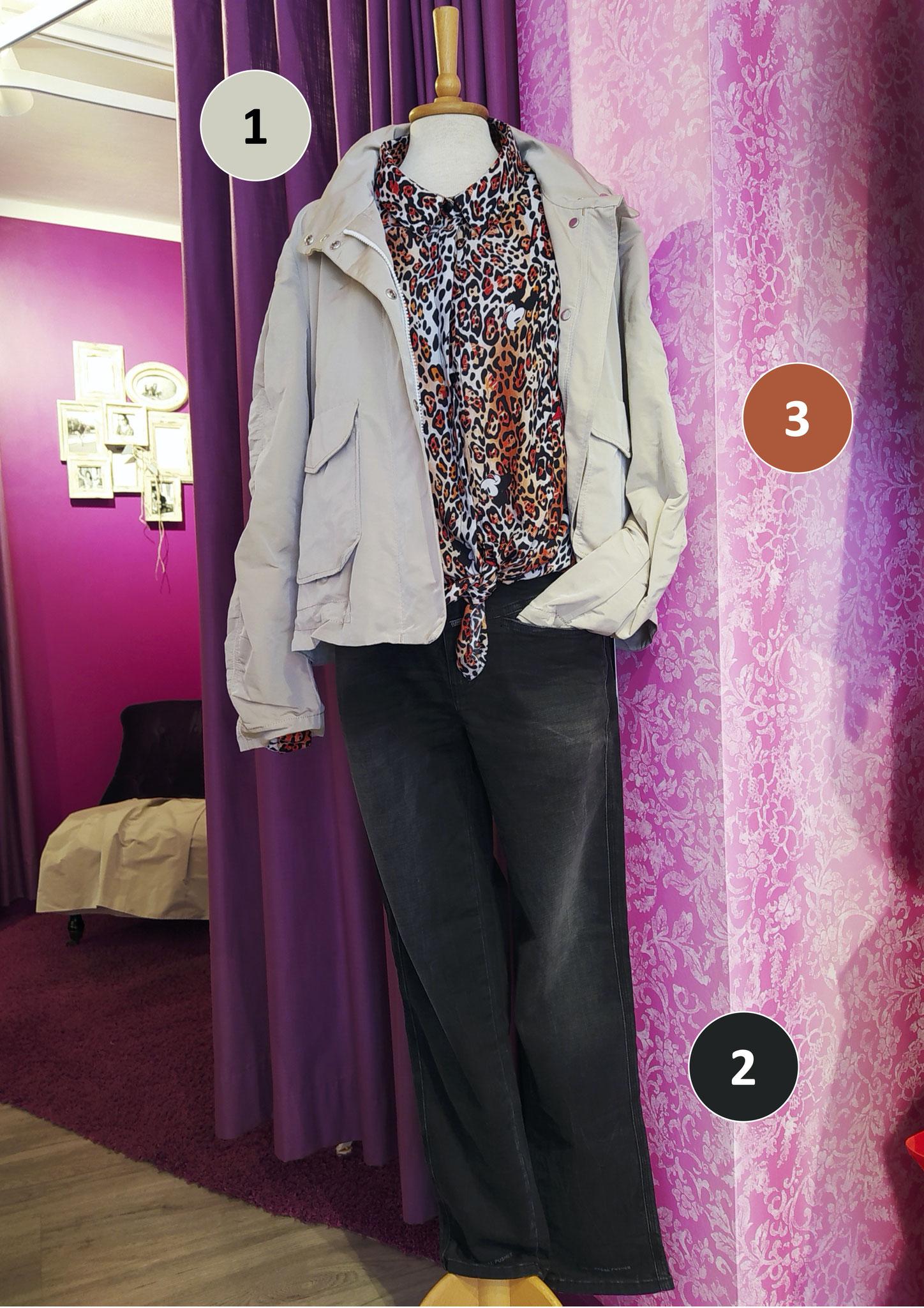 1. Leichte Oversized-Jacke von Marc Cain (299€), 2. Jeans von closed, höherer Bund (jetzt 99€), 3. Bluse von frogbox (jetzt 70€)