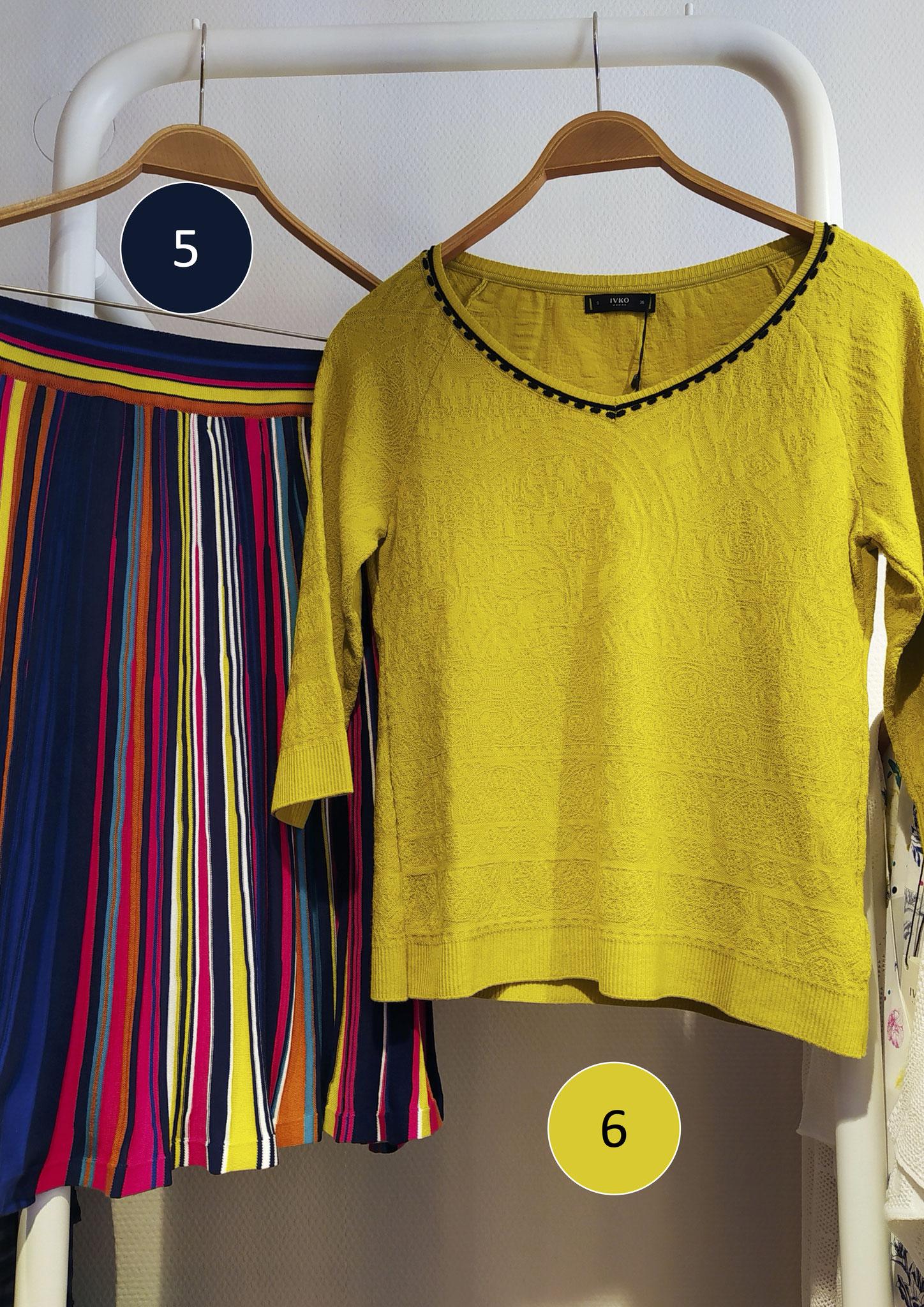 5. Streifenrock, Baumwolle (139€), 6. Kurzarm-Pulli, Viscose/Stretch (129€)