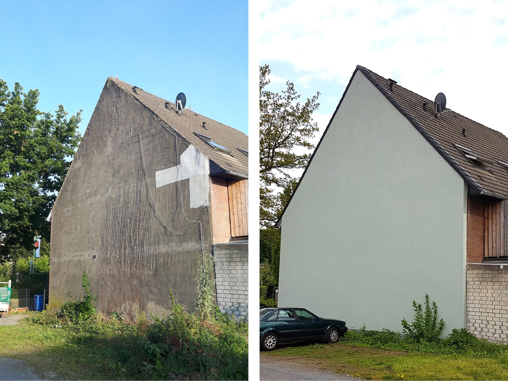 Vor und nach dem Fassadenanstrich