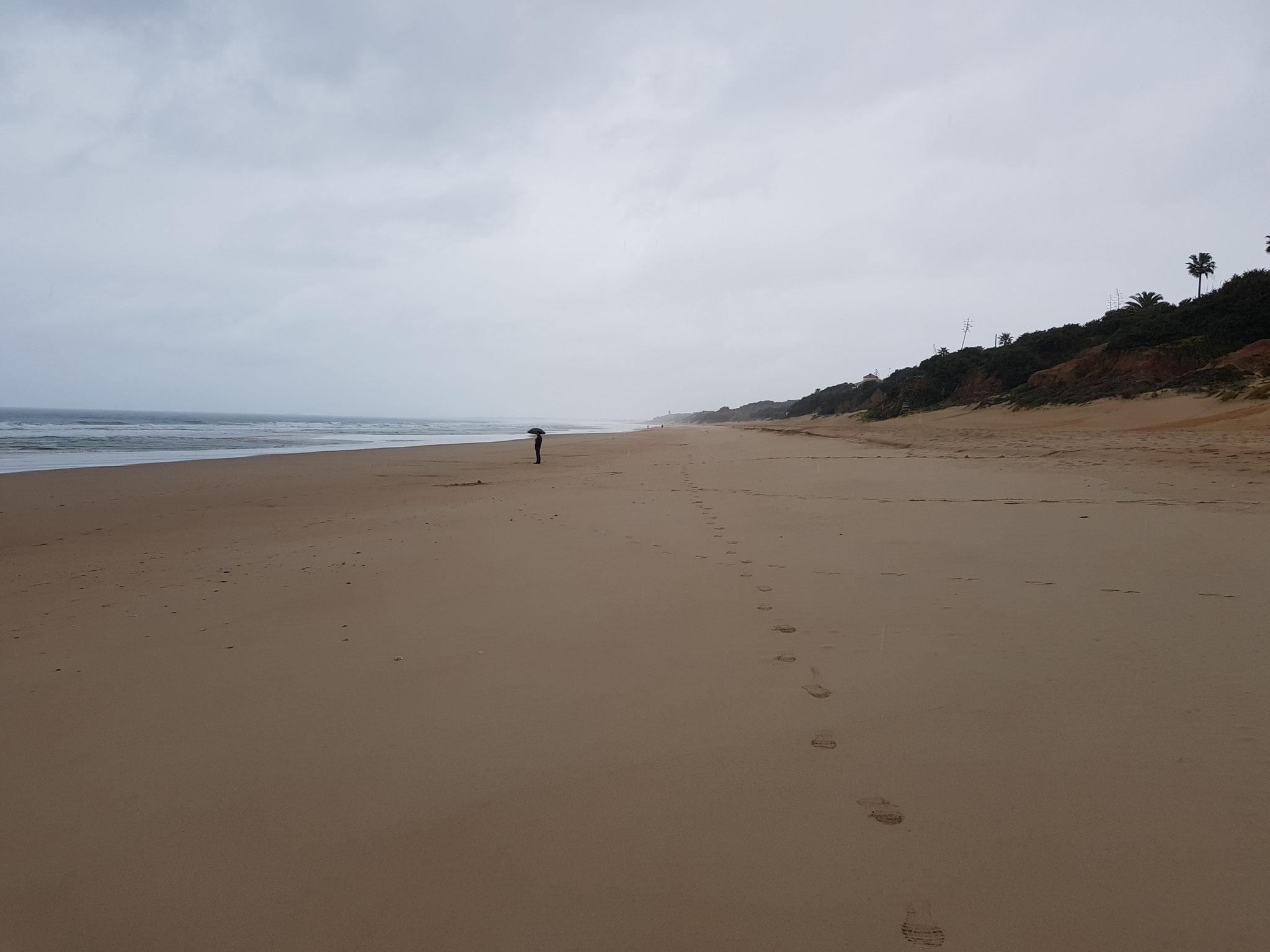 ich lief ohne Regenschirm