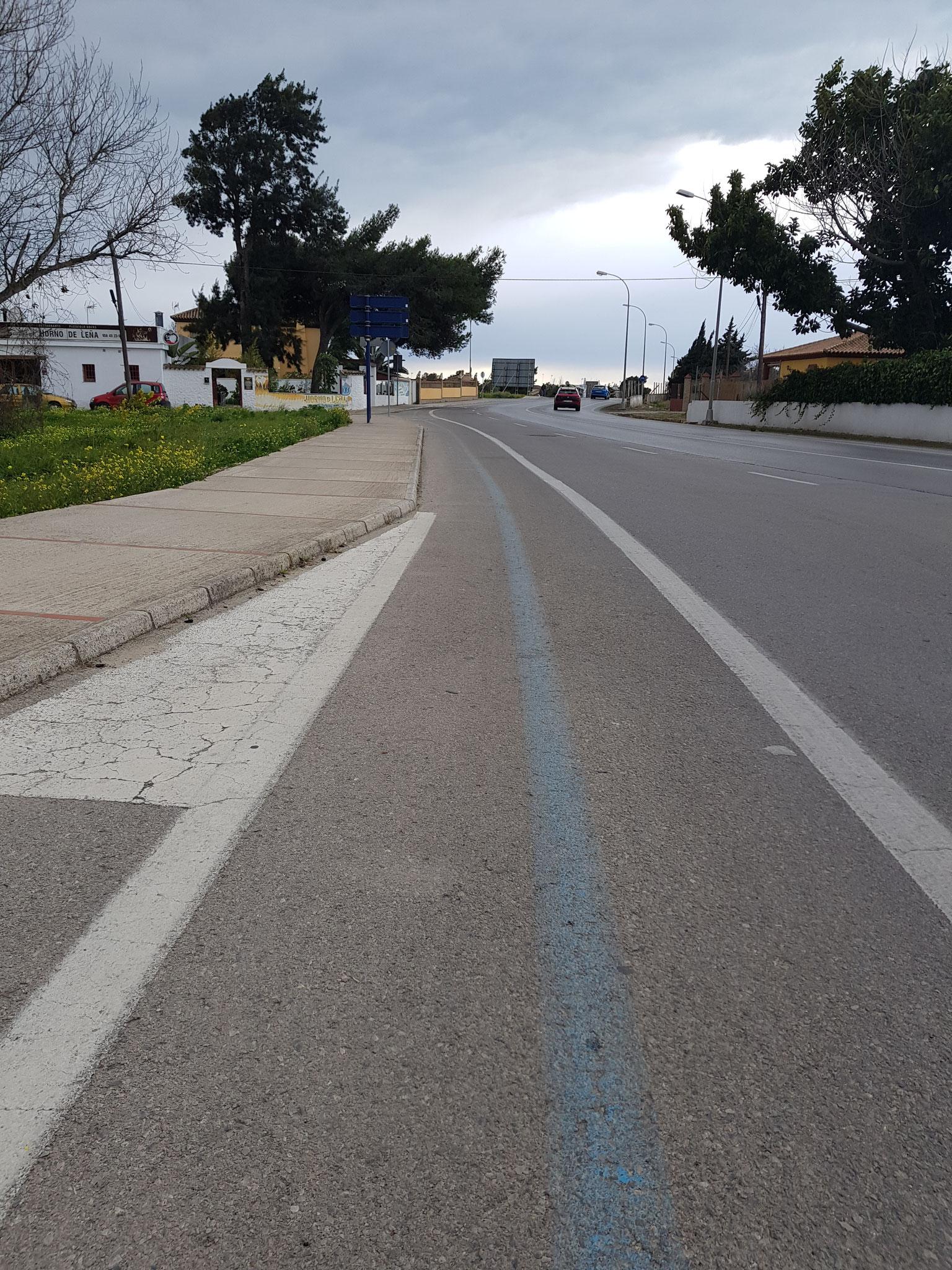 ganzjährige blaue Linie - ich mag blaue Linien - oder goldene wie in Valencia
