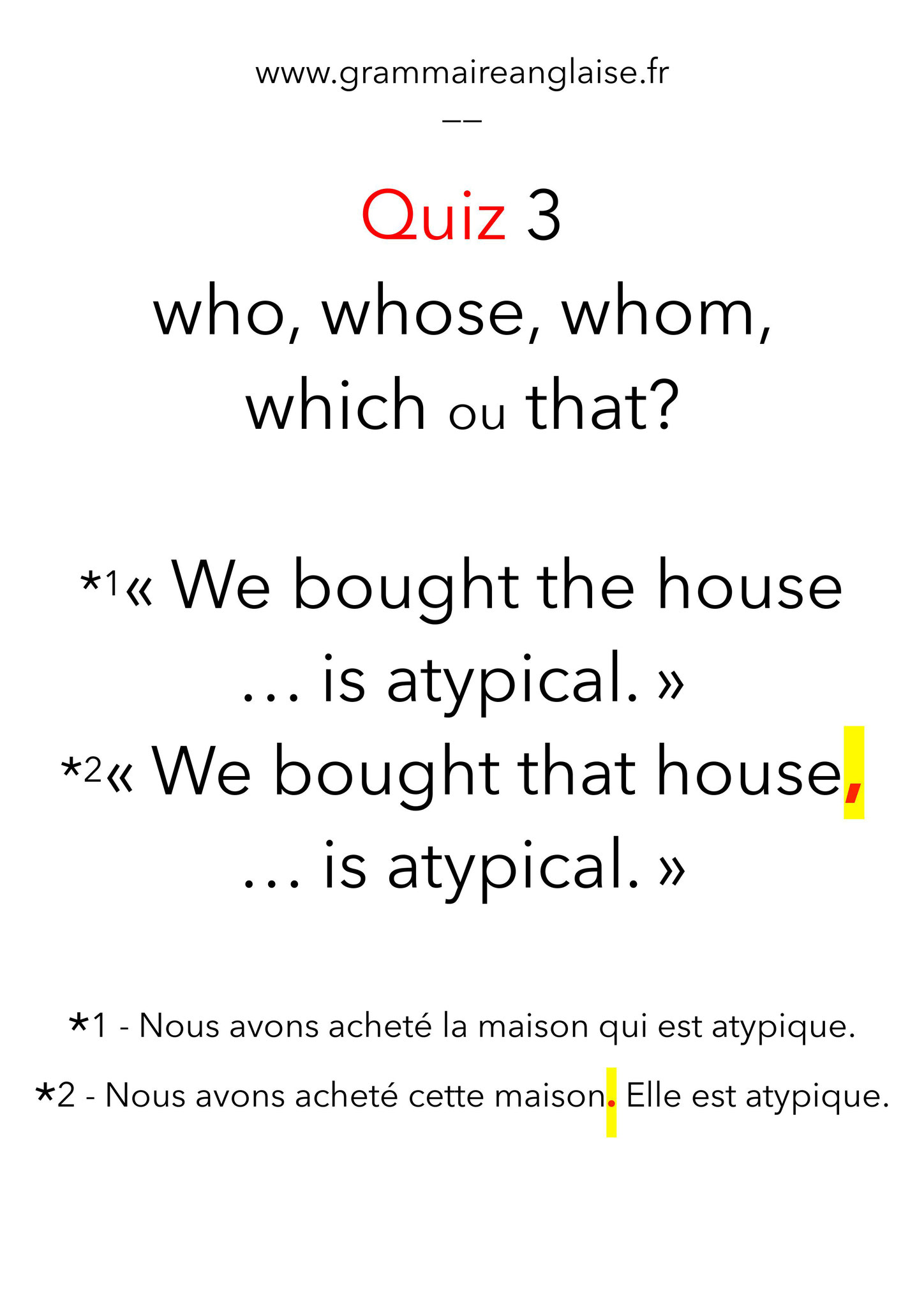 "Mini Quiz d'anglais - 3 «LES PRONOMS RELATIFS"" WHO, WHOM, WHOSE,  THAT, WHICH"