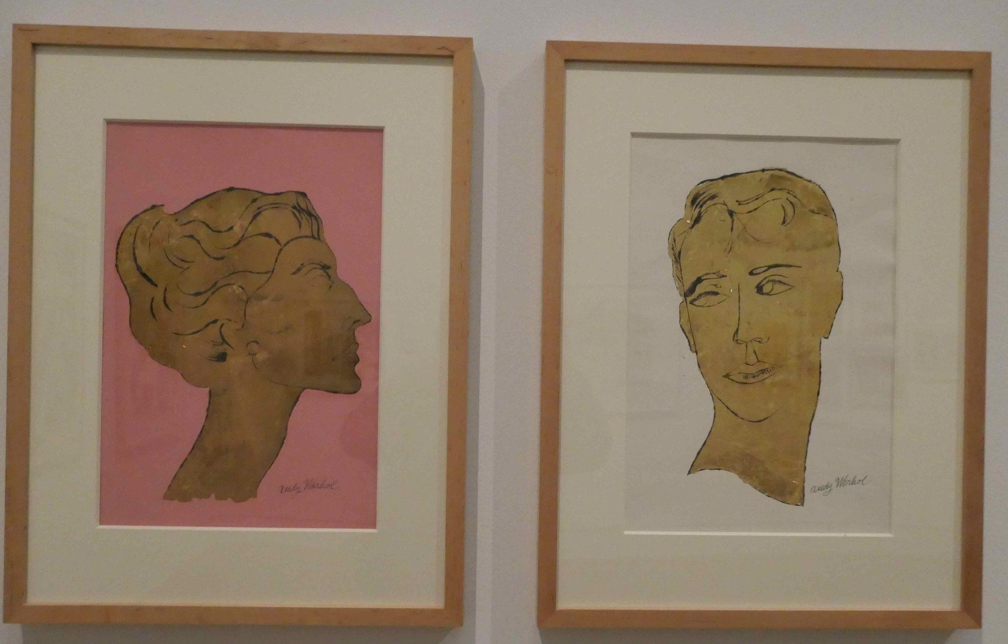 Andy Warhol, Abklatsch einer Federzeichnung in Schwarz und Blattgoldimitat, um 1957