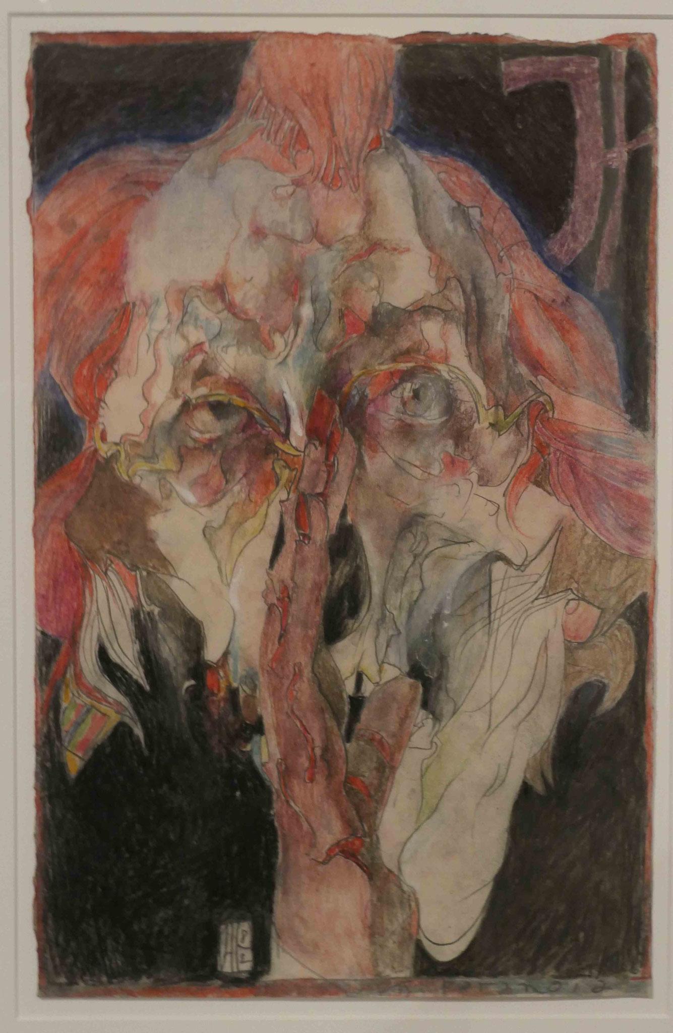 """Horst Janssen,""""Selbst (Paranoia)"""", Pastell 1982, Sonderausstellung """"Lebensklekse-Todeszeichen"""", Sammlung Scharf-Gerstenberg, Berlin"""