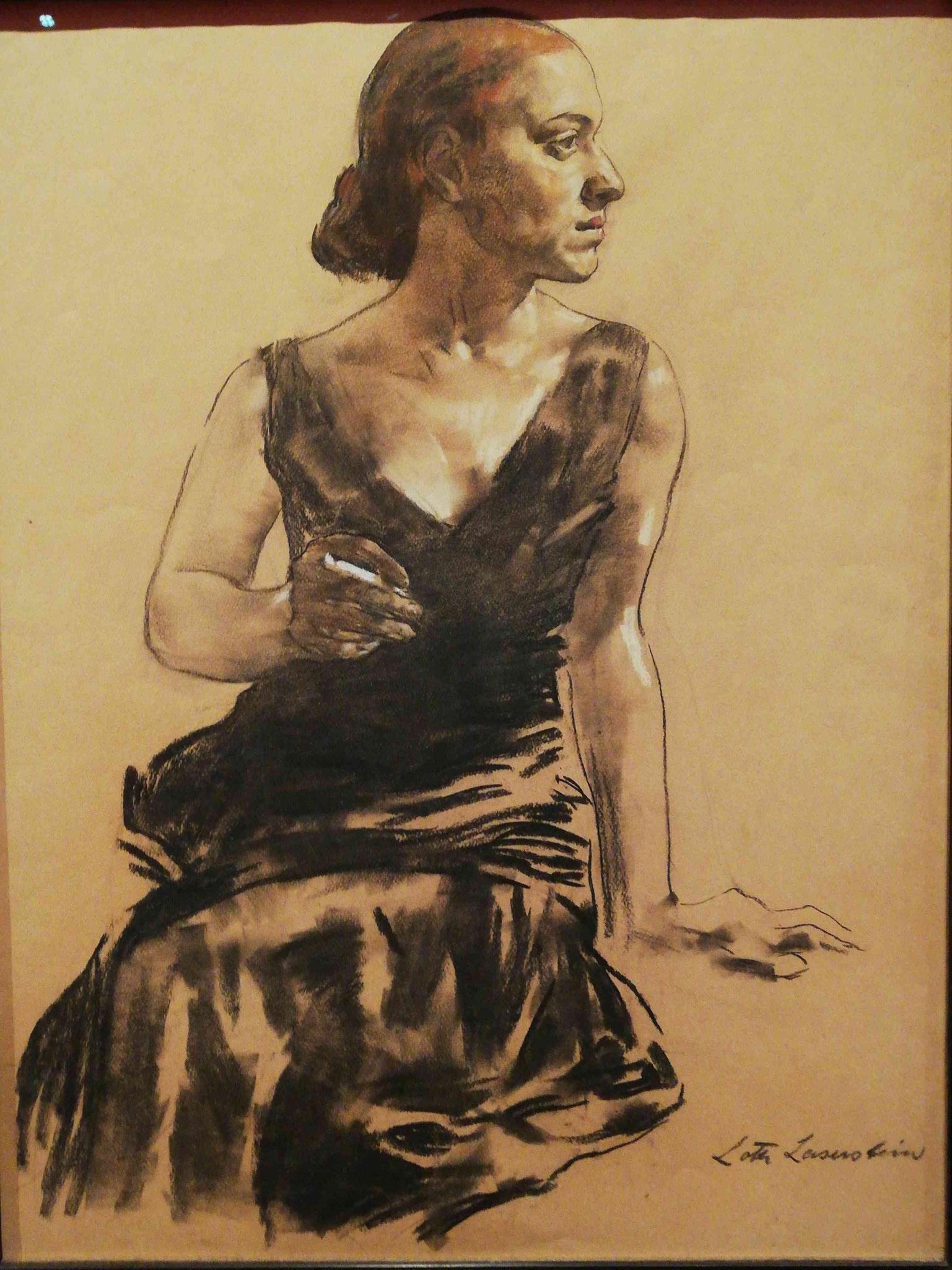 Lotte Laserstein, Dame im schwarzem Abendekleid mit Zigarette, 1931