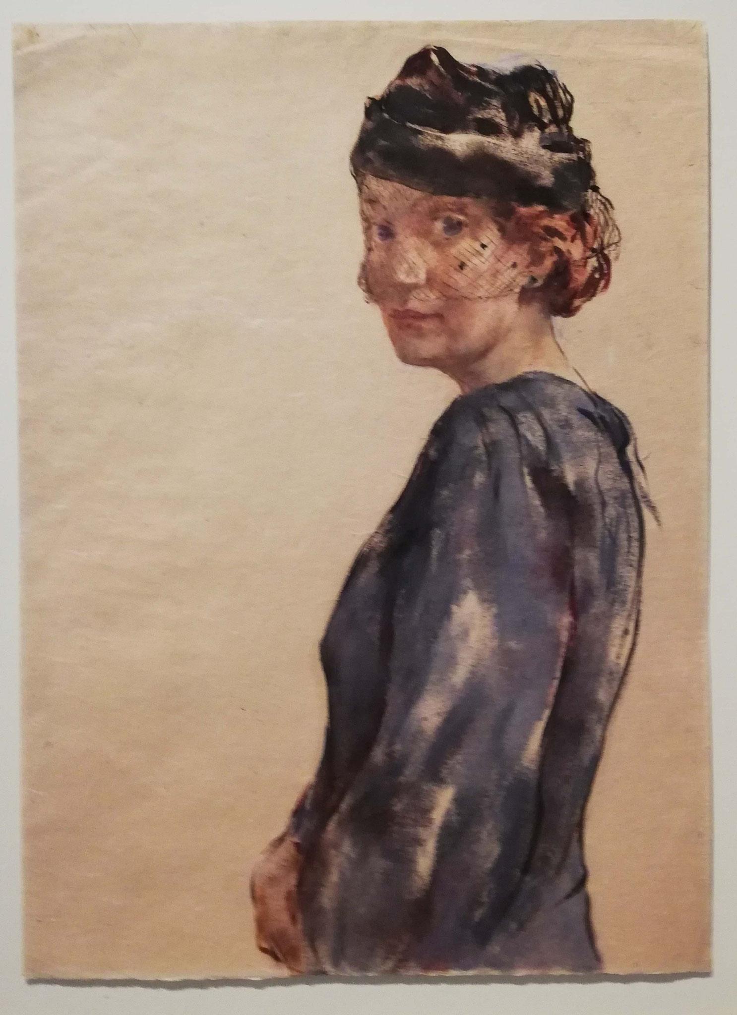 Lotte Laserstein, Dame in Blau mit Schleierhut, 1939
