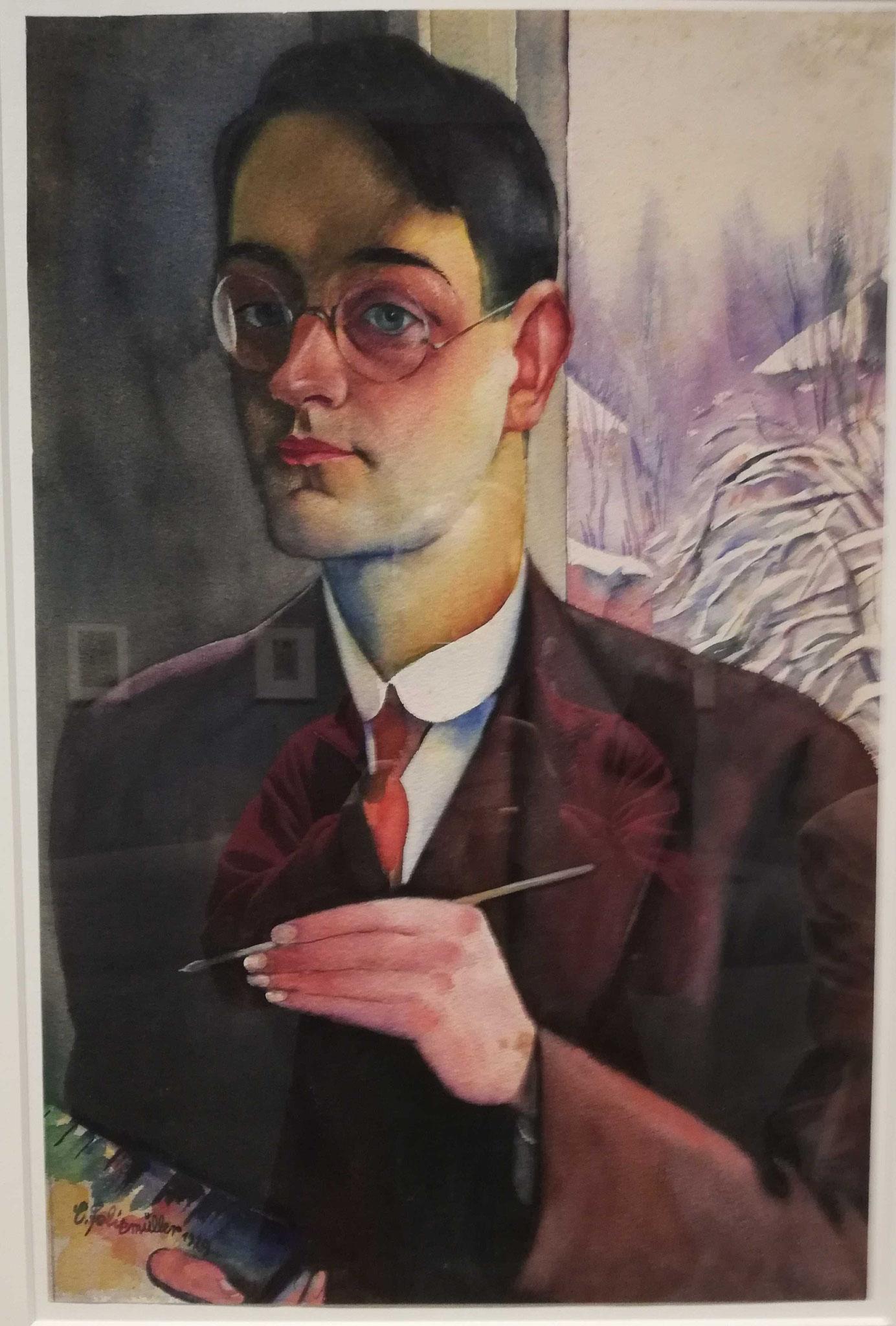 Conrad Felixmüller, Selbstbildnis (mit Palette), 1929