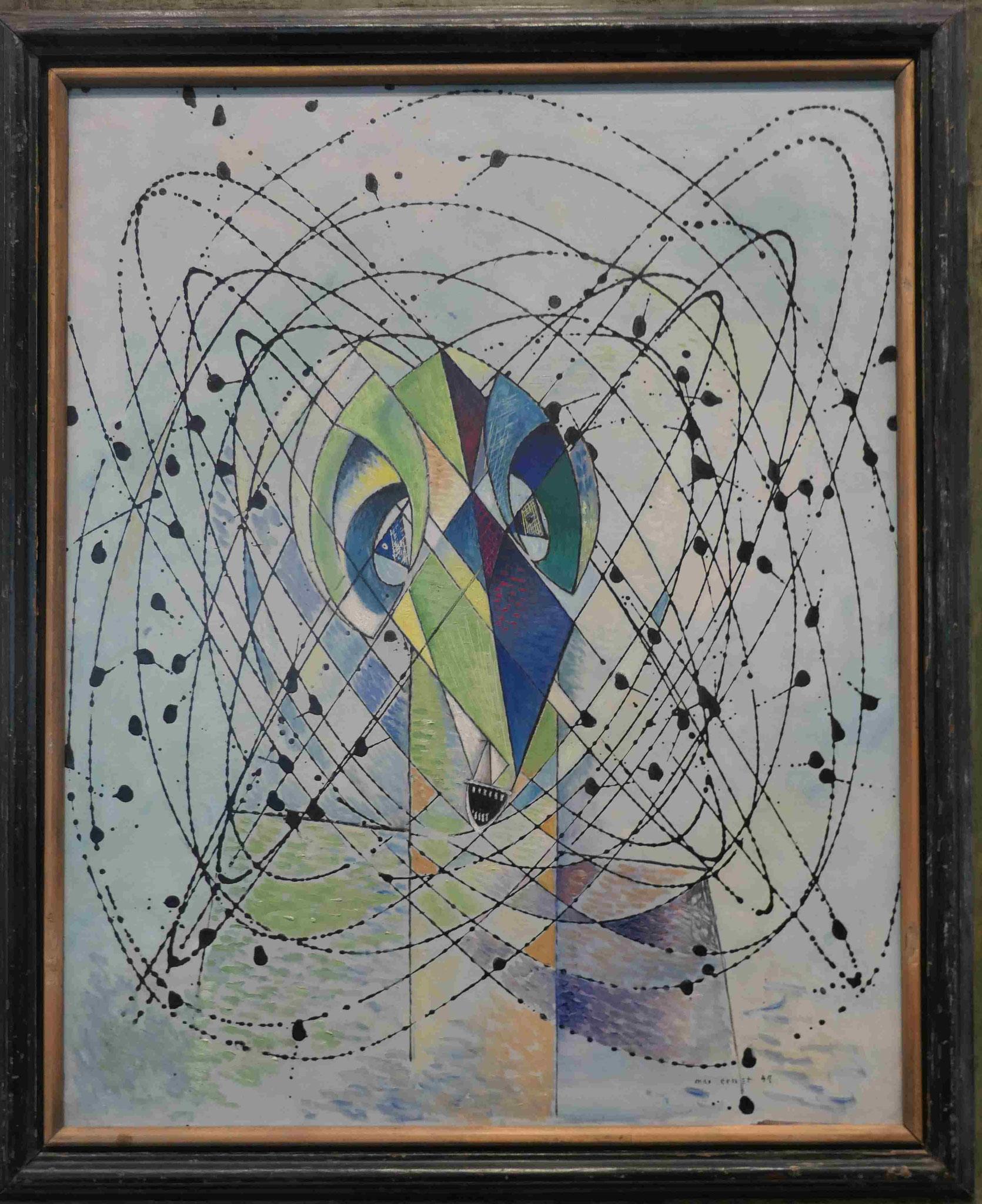 Max Ernst, Junger Mann, beunruhigt durch den Flug einer nicht-euklidischen Fliege, 1942/47, Neue Nationalgalerie Berlin