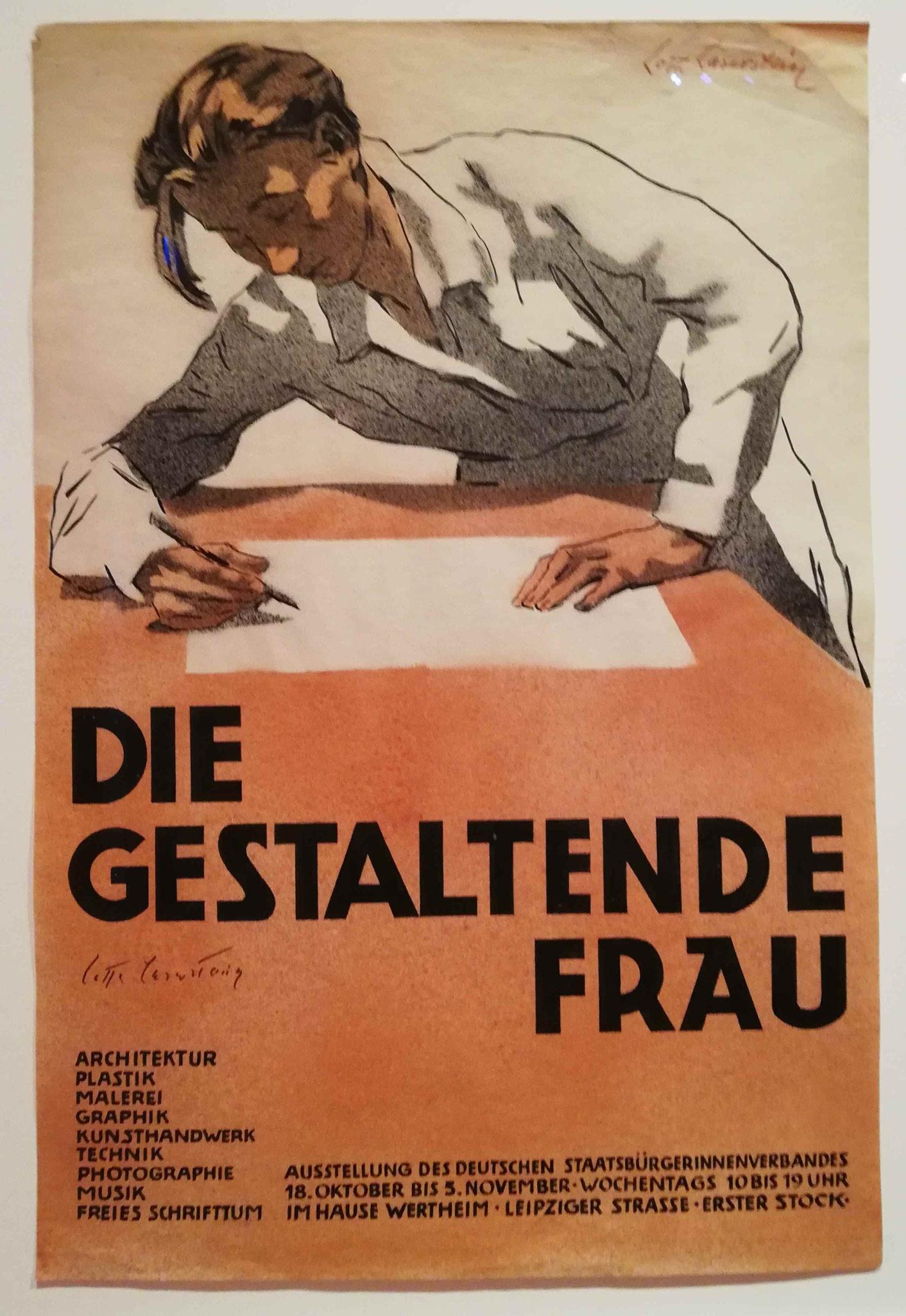 """Lotte Laserstein, Plakatentwurf zur Ausstellung """"Die gestaltende Frau"""" 1930"""
