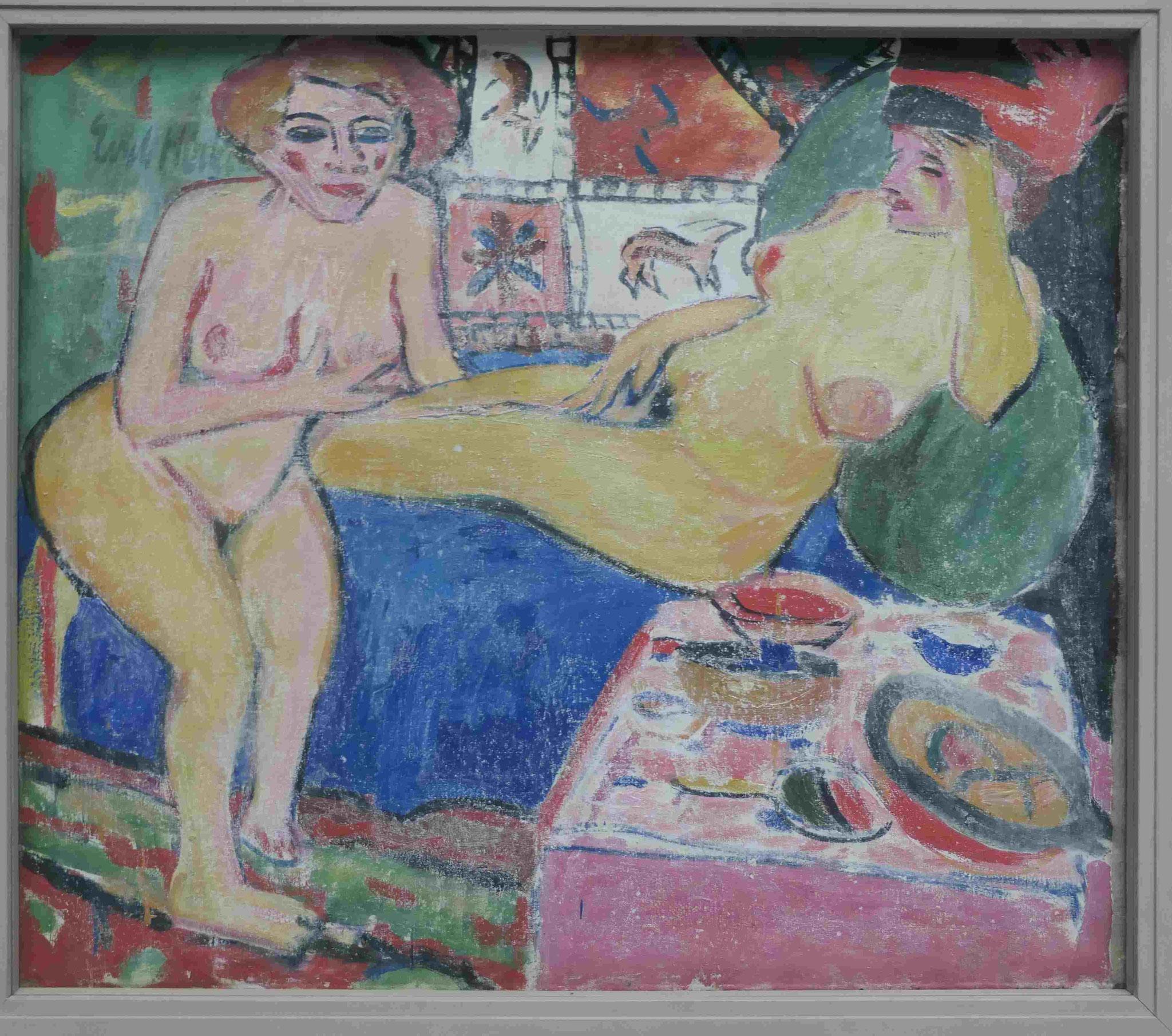 Erich Heckel, Zwei weibliche Akte auf blauem Sofa, ca. 1910, Kunsthalle zu Kiel