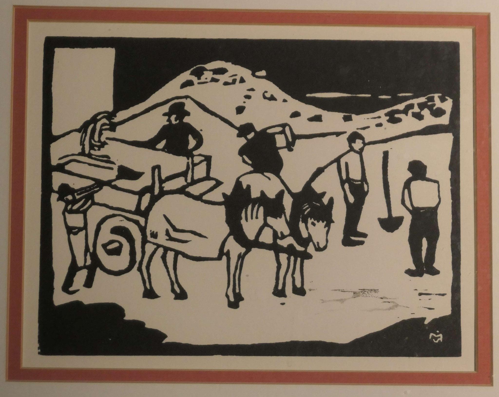 Gabriele Münter, Bauarbeit, um 1912, Holzschnitt, Privatbesitz