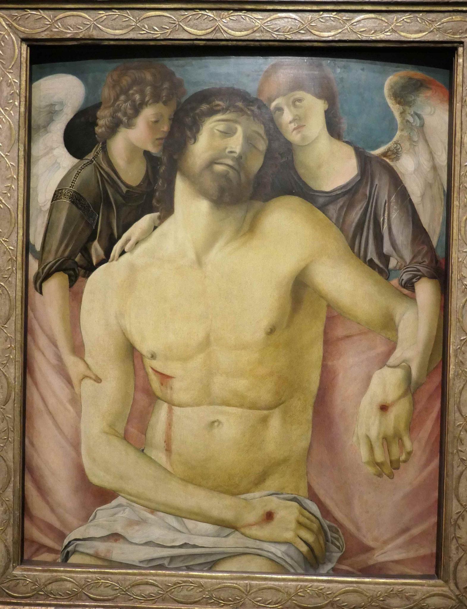 Giovanni Bellini, Toter Christus, von zwei Engeln gestützt, um 1470/75