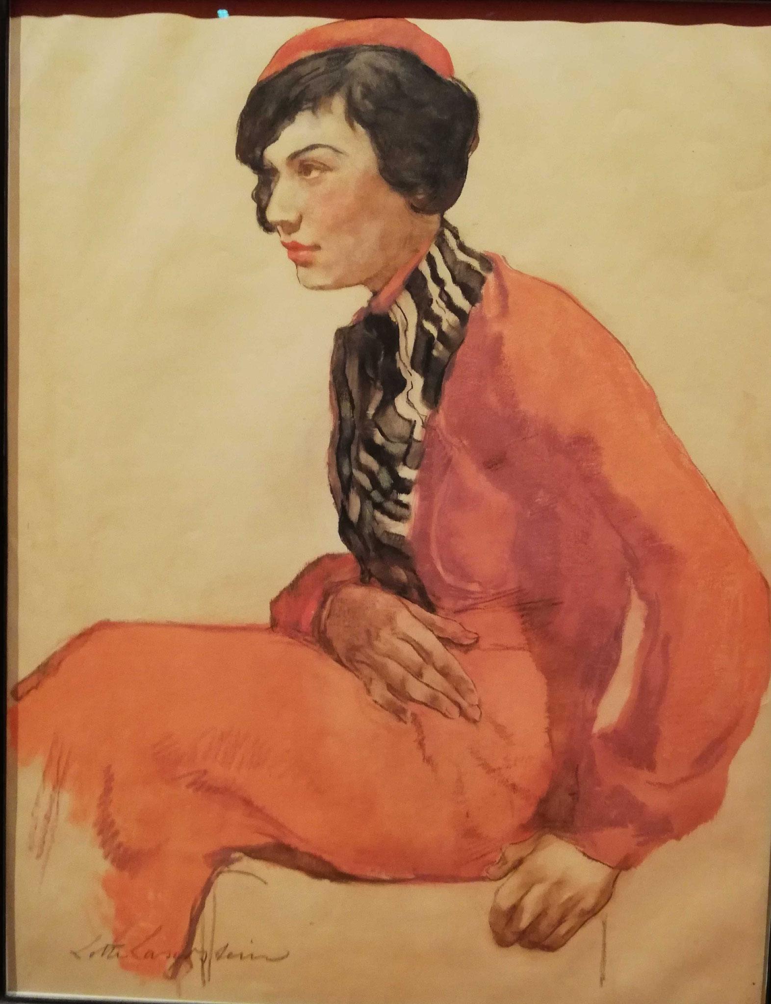 Lotte Laserstein, Dame mit roter Baskenmütze, um 1931