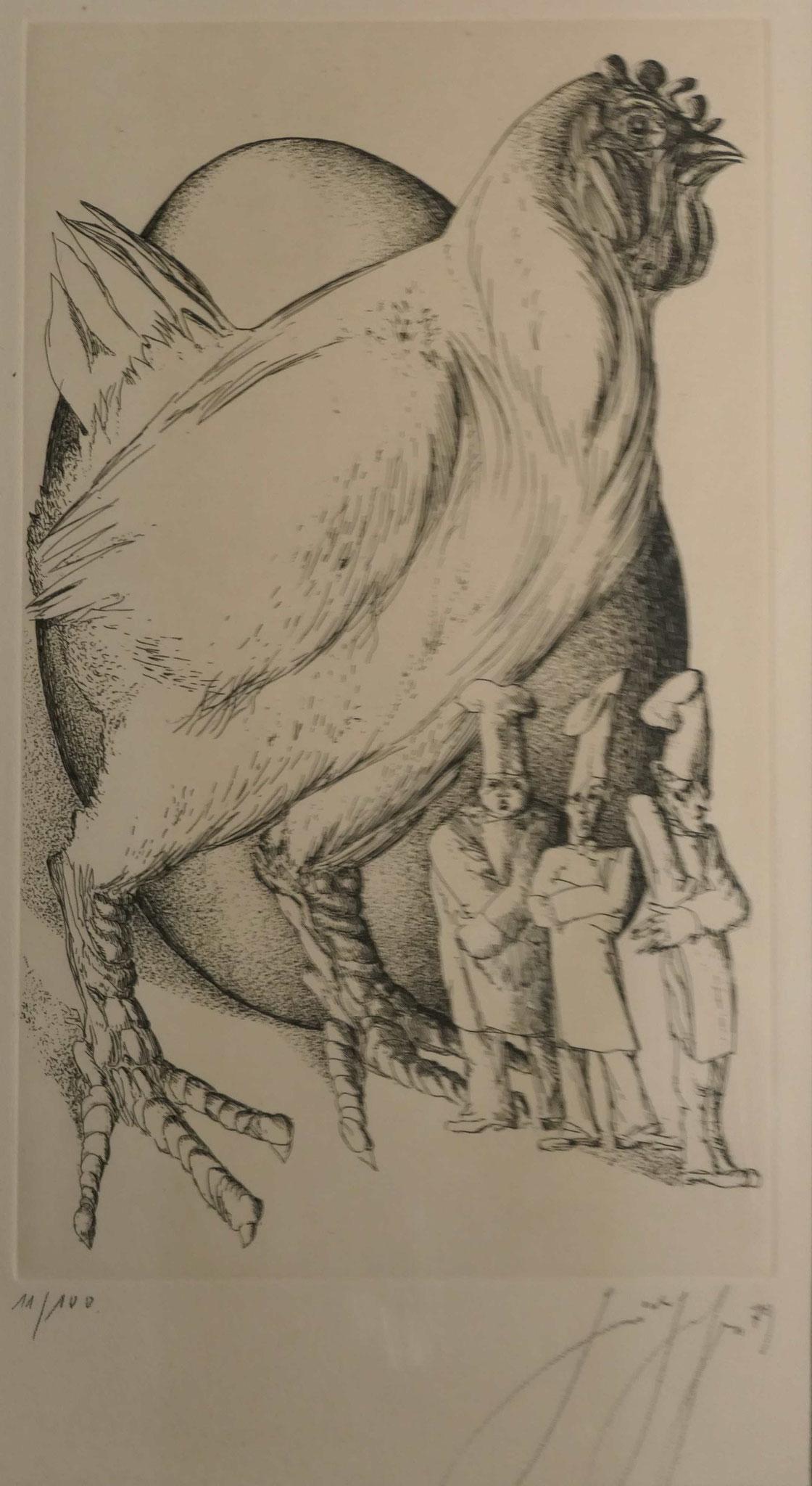 Günter Grass, Zu kleine Köche, Radierung, Privatbesitz