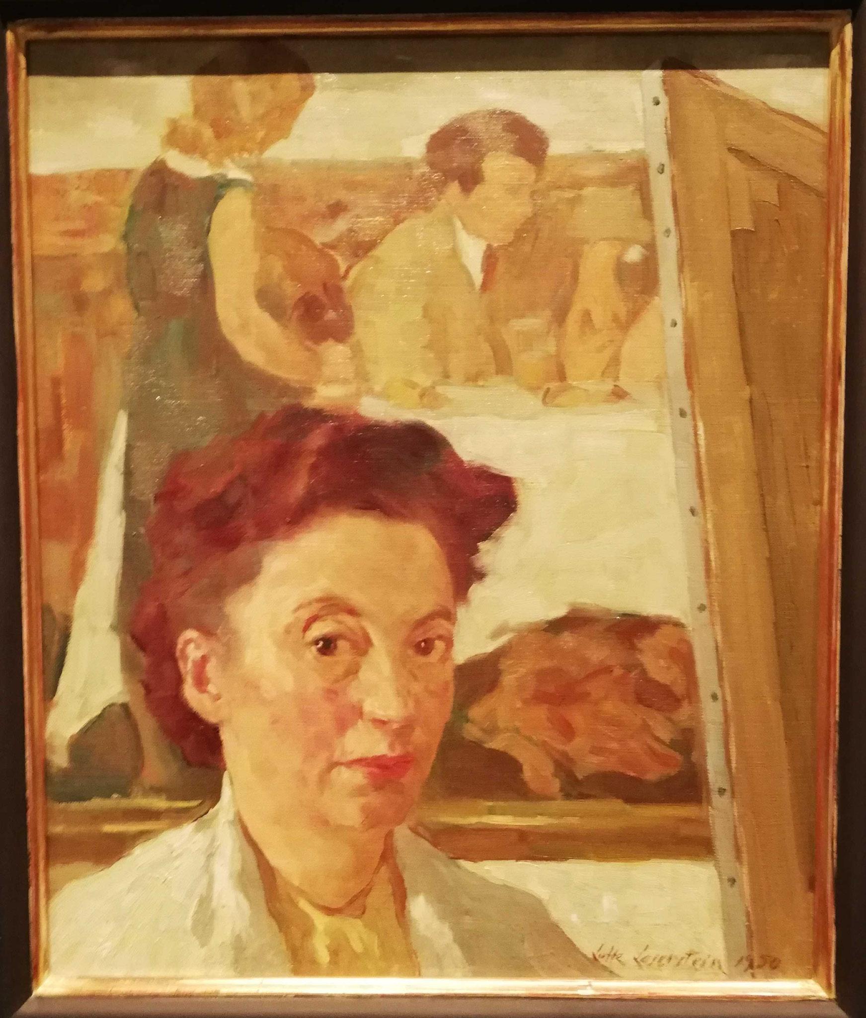 """Lotte Laserstein, Selbstportät vor """"Abend über Potsdam"""", 1950"""