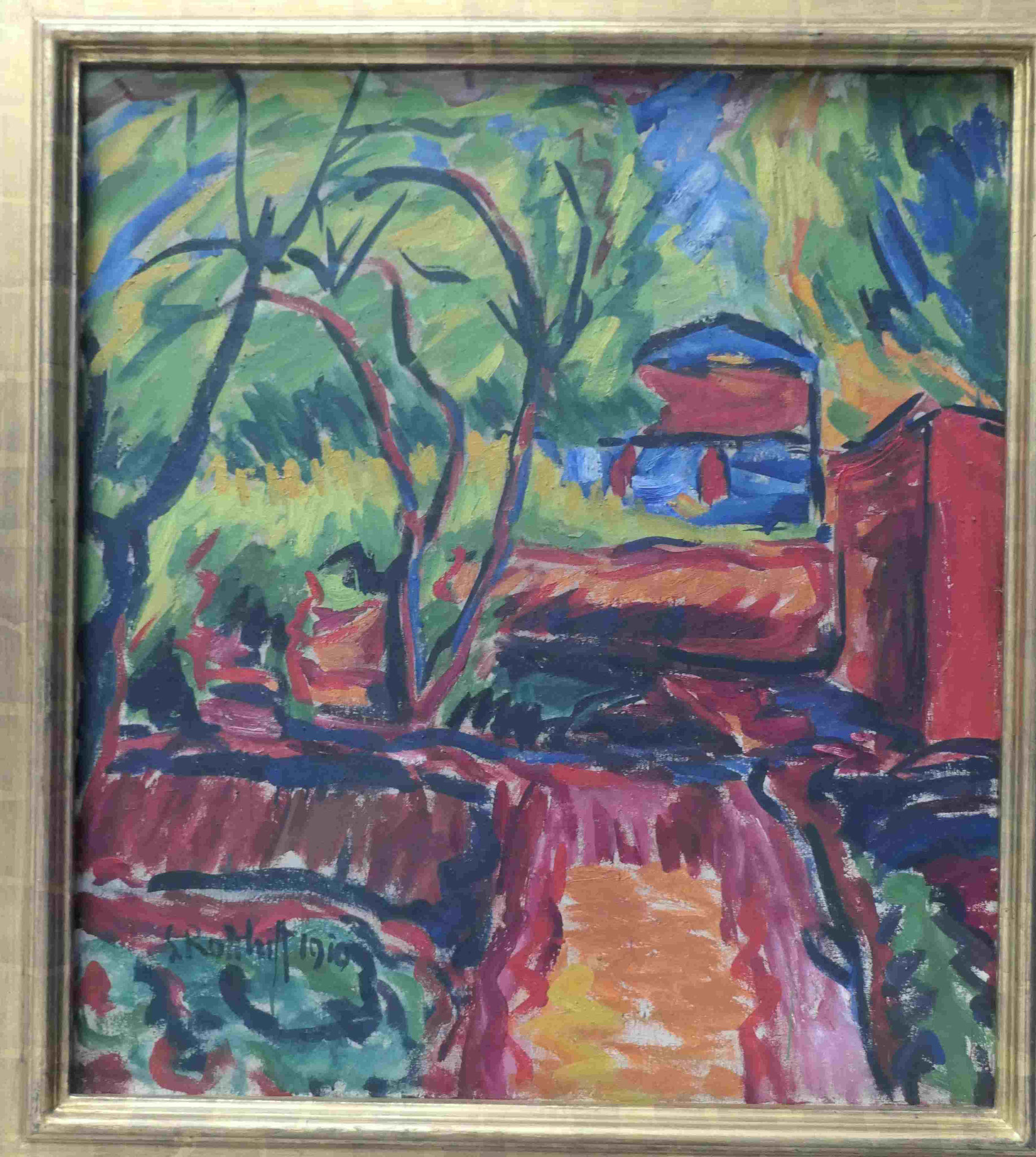 Karl Schmidt-Rotluff, Haus unter Bäumen (Bauerngarten), 1910,  Kunsthalle zu Kiel