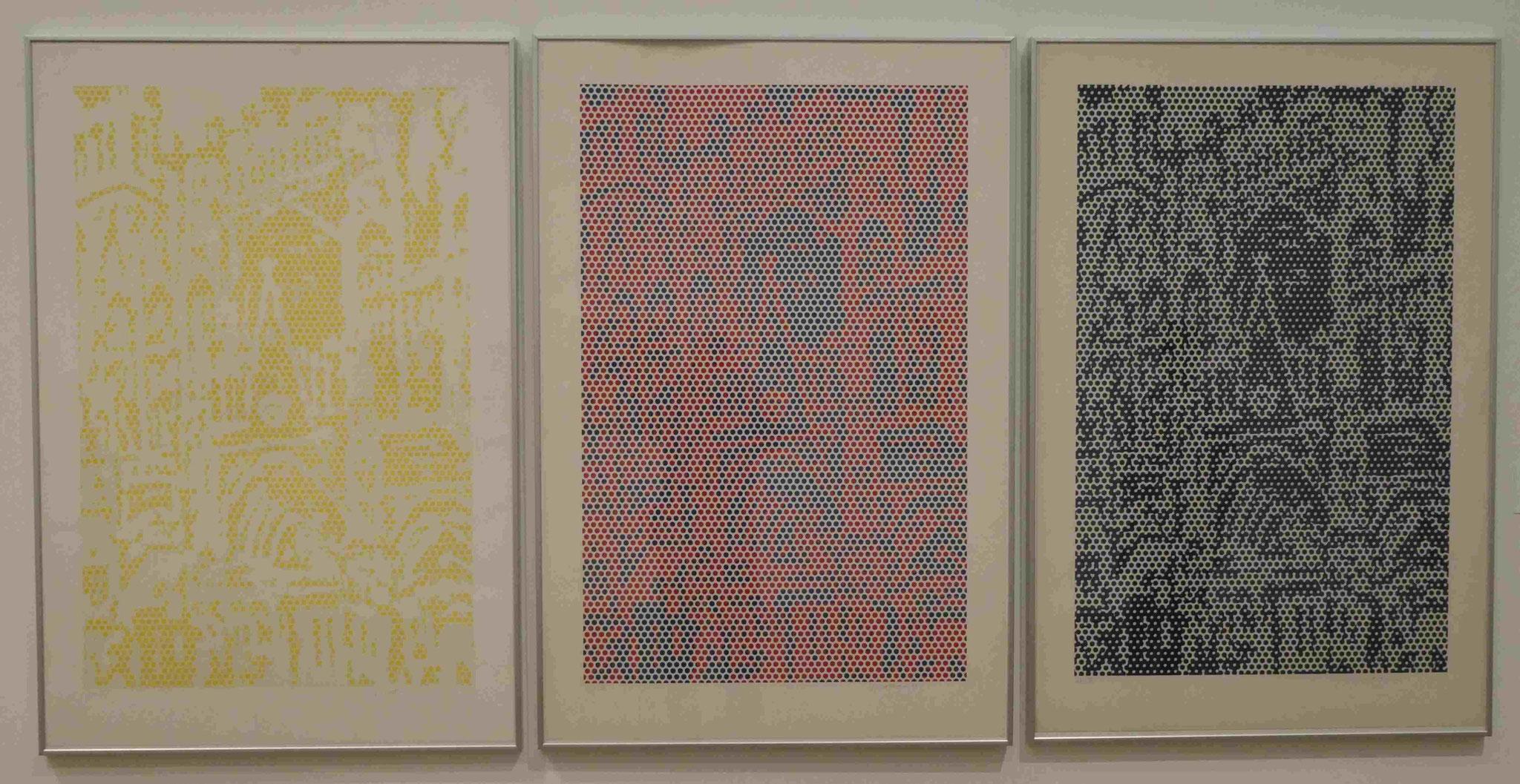 Roy Lichtenstein, Cathedral #1,#2,#3, Lithographie und Siebdruck, 1969, Nationalgalerie Berlin