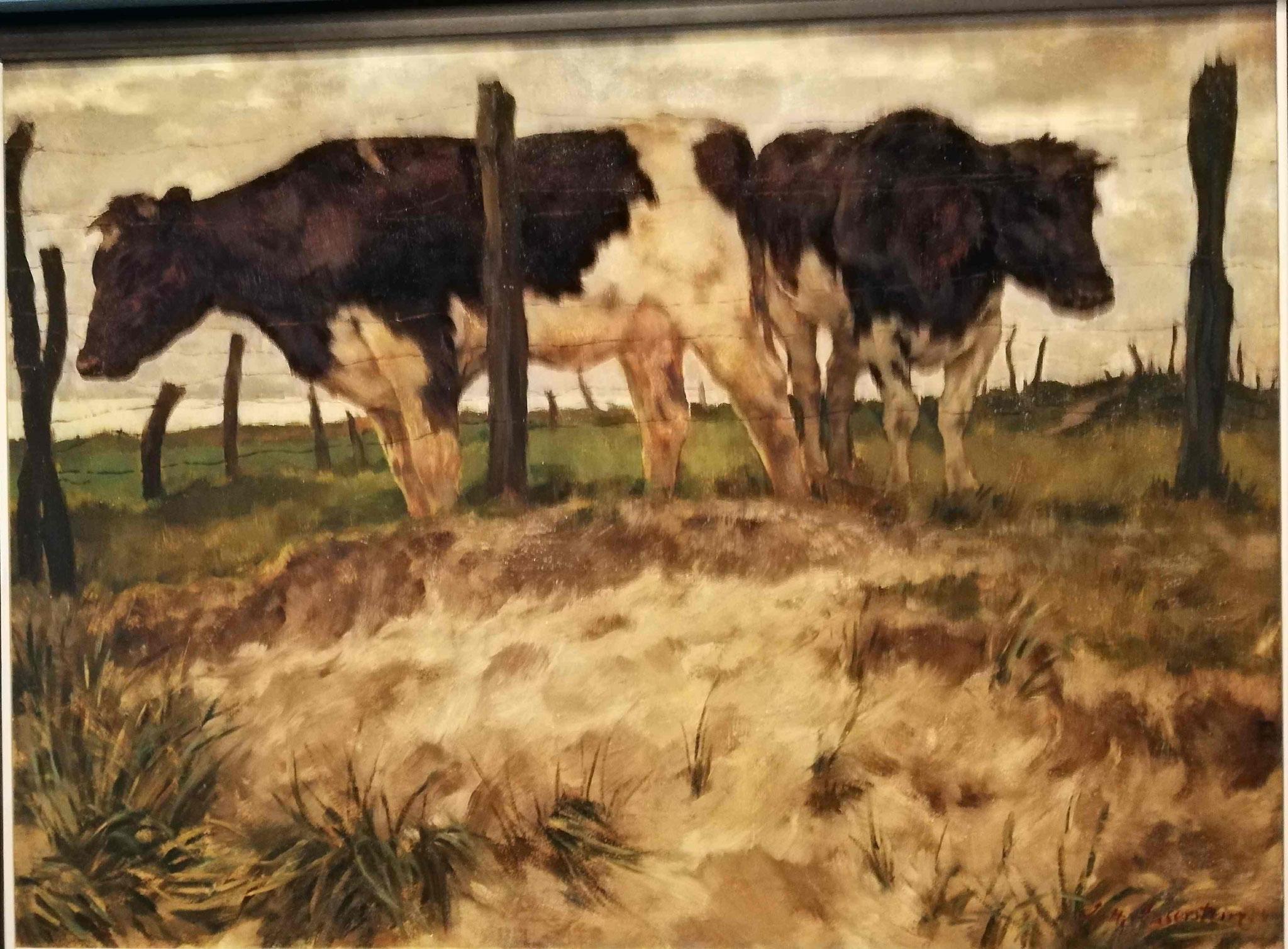 Lotte Laserstein, Kühe hinter einem Zaun, 1935