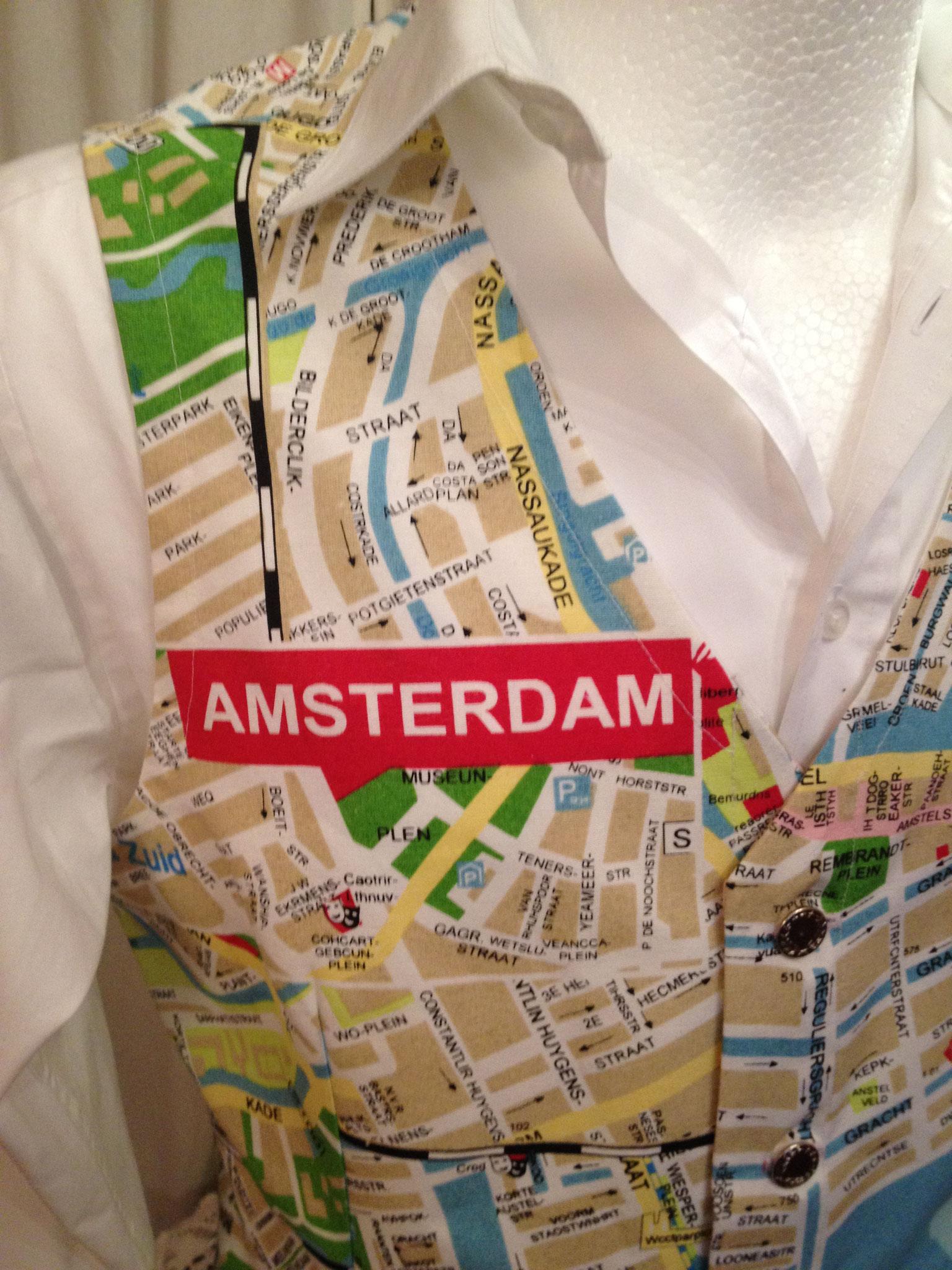 Männerweste, Straßenkarte Amsterdam,  Gr. 50/52, ungefüttert, 60€