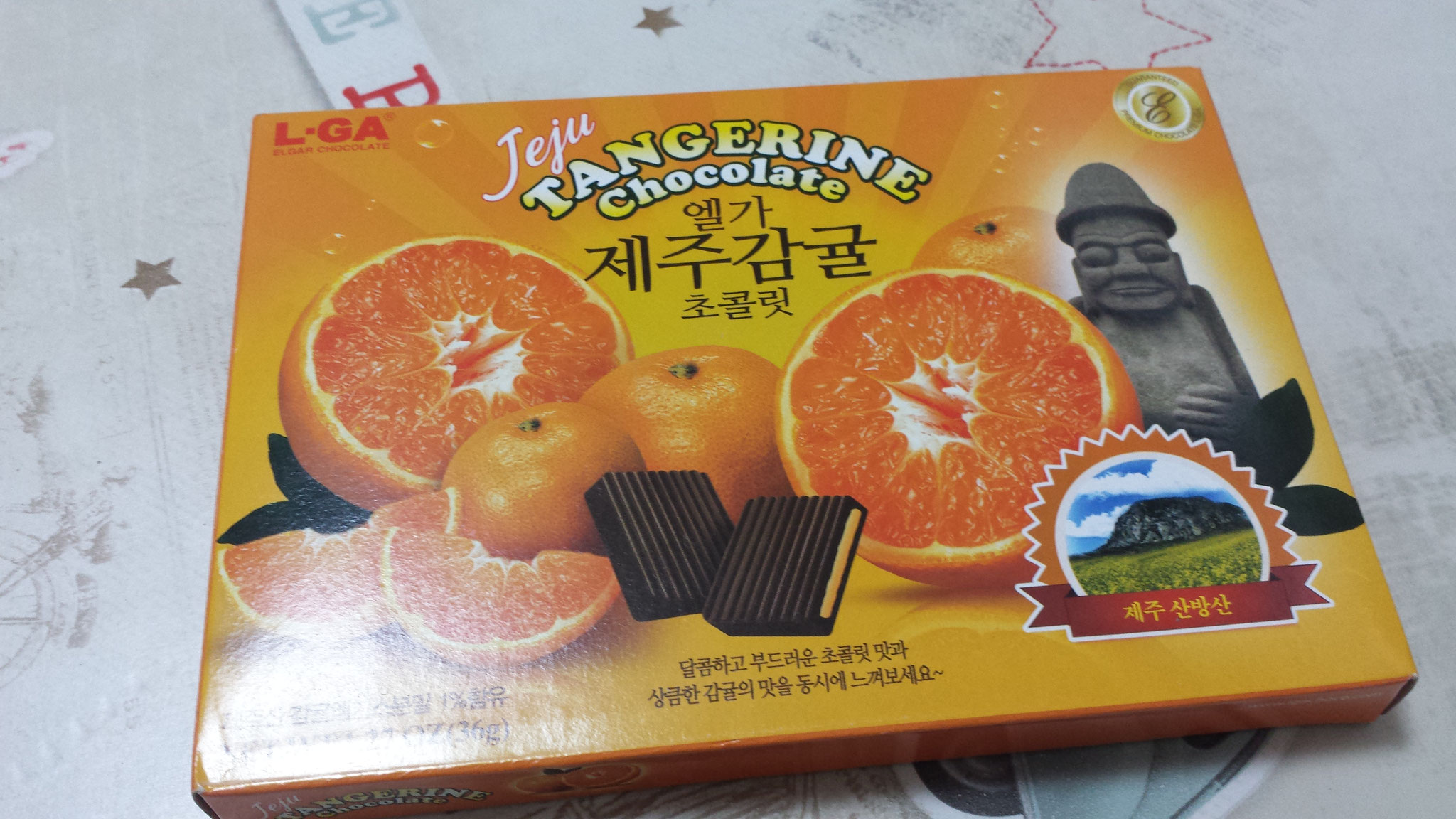 Des chocolats à l'orange, souvenirs de Corée du Sud