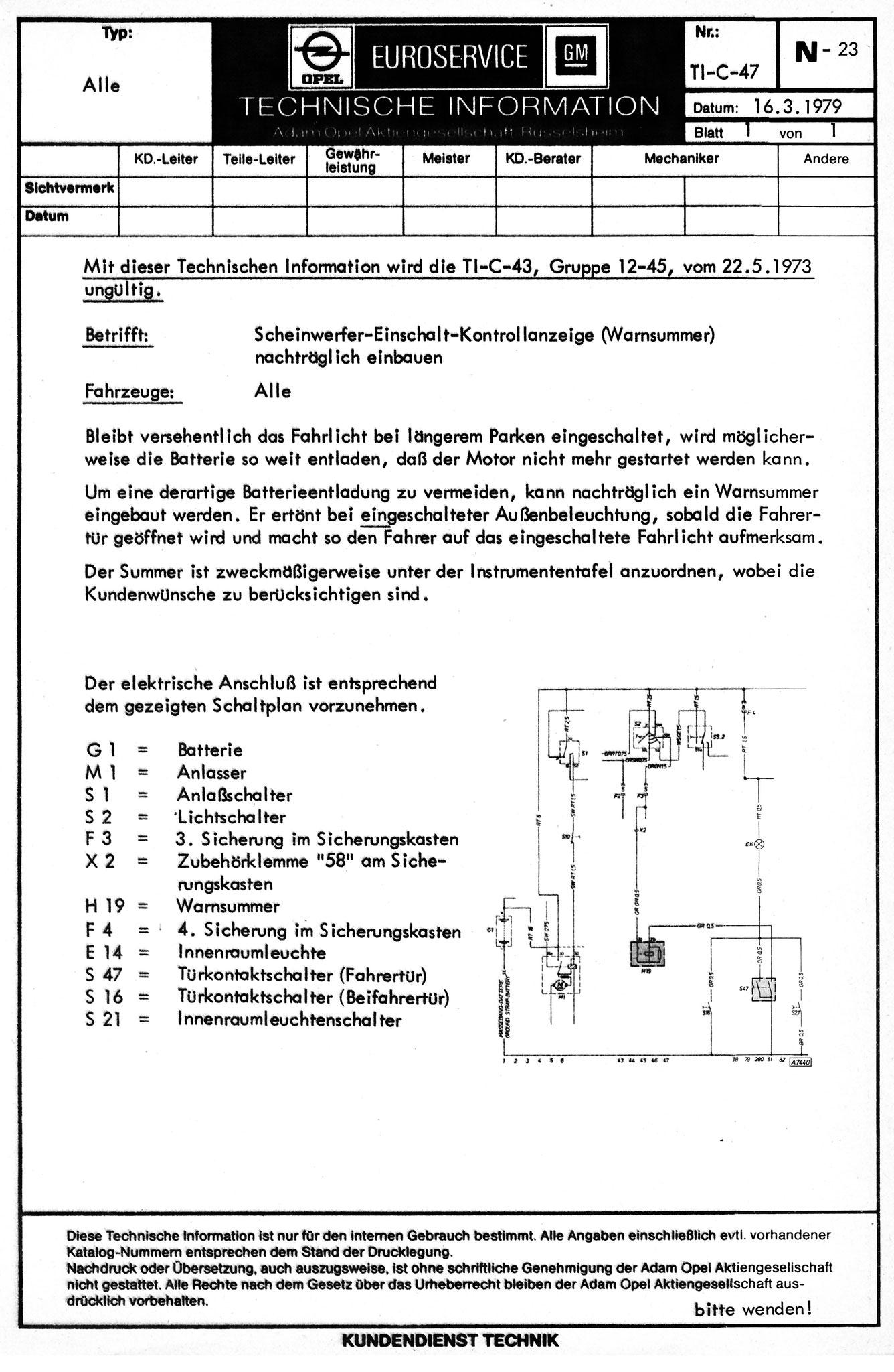 Gruppe N - Elektrische Ausrüstung - Wissenswertes über den Opel ...