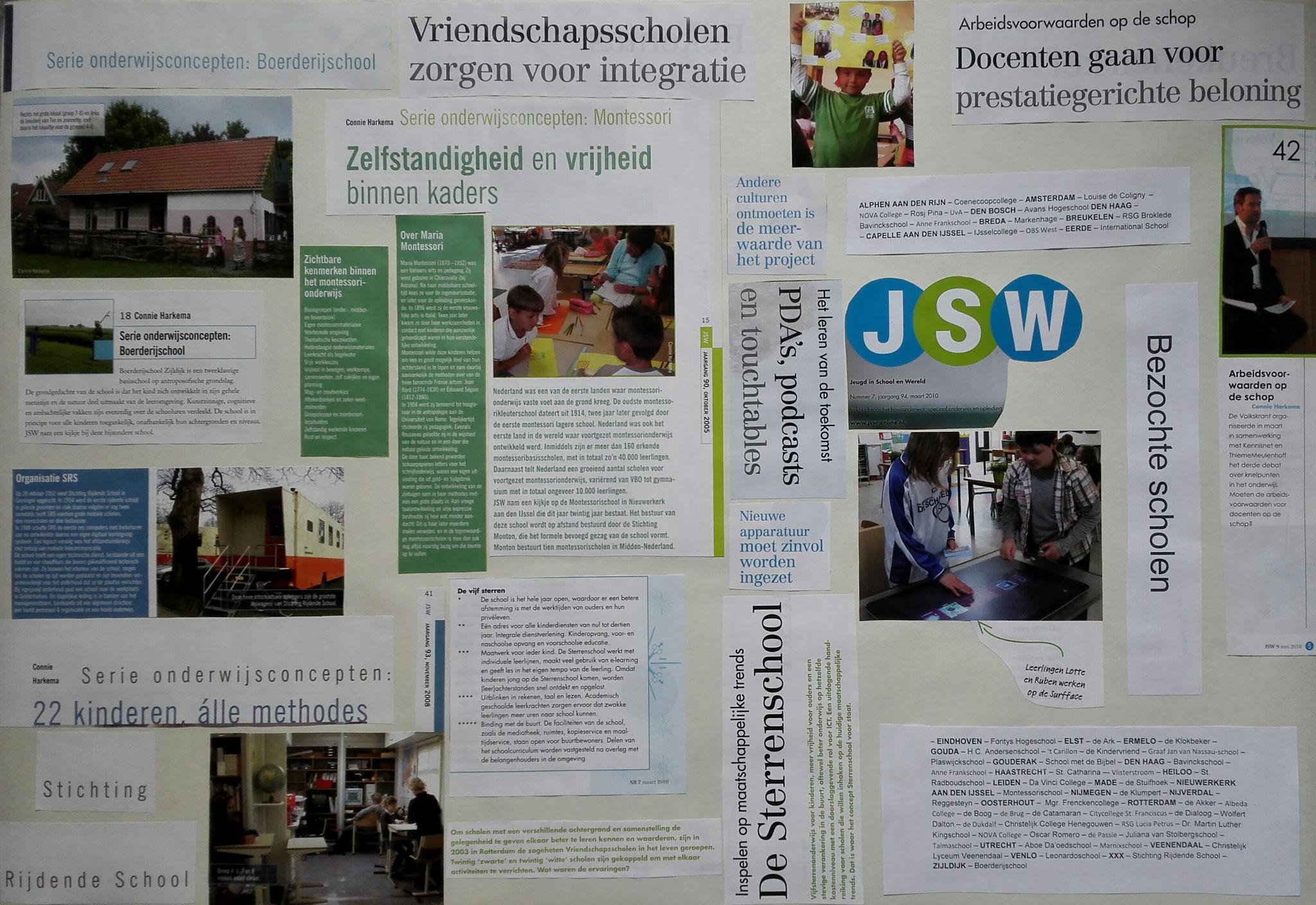 een samenstelling van stukjes tekst uit:   JSW Jeugd in School en Wereld (vakblad voor leerkrachten in het basisonderwijs)  De bijbehorende haiku luidt als volgt:  Onderwijsconcept - Projecten en verdiensten - Gemak dient het kind
