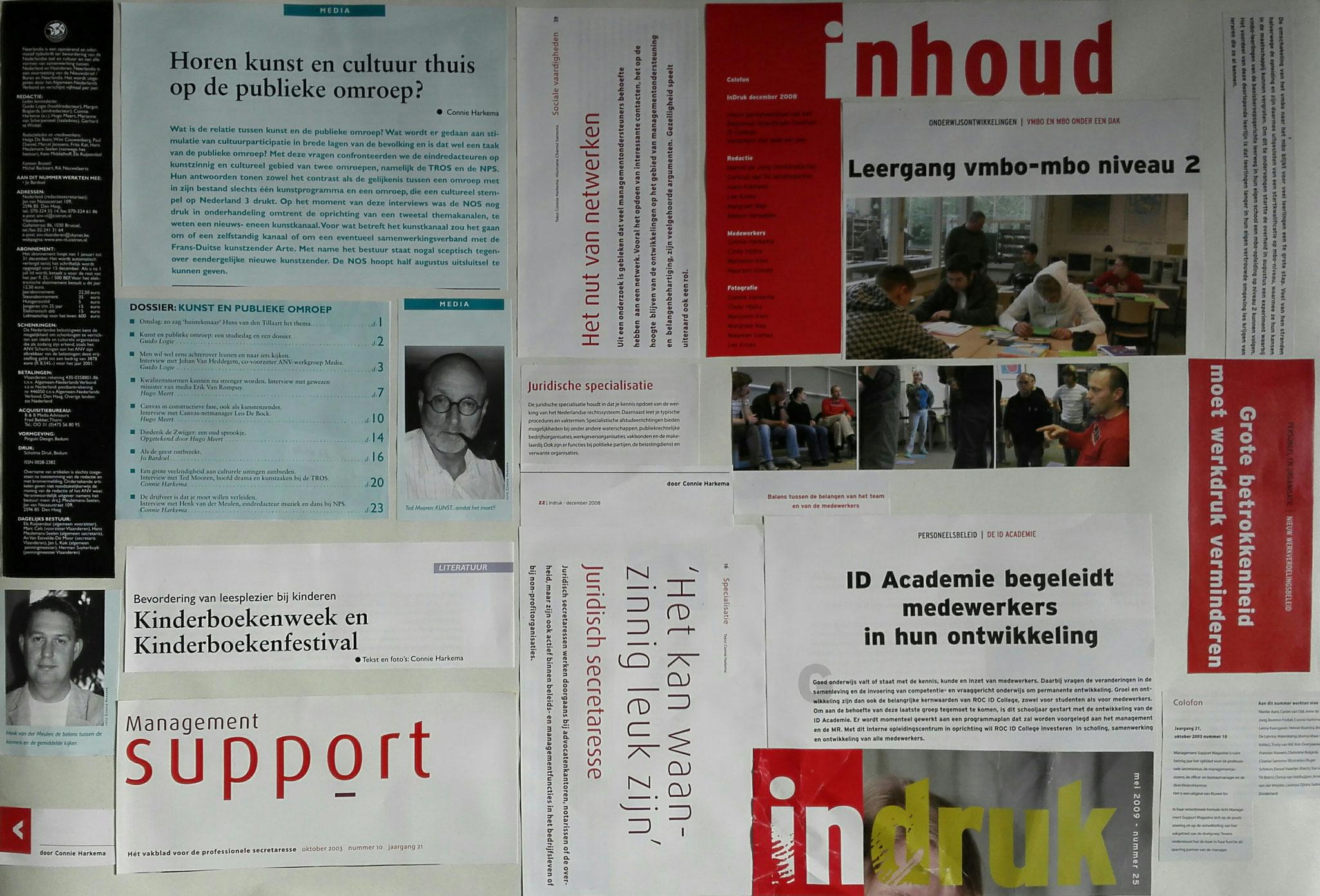 een samenstelling van stukjes tekst uit:  InDruk , Management support en Neerlandia. De bijbehorende haiku luidt als volgt: Indruk en inhoud - Betrokkenheid en balans - Ontwikkelingen
