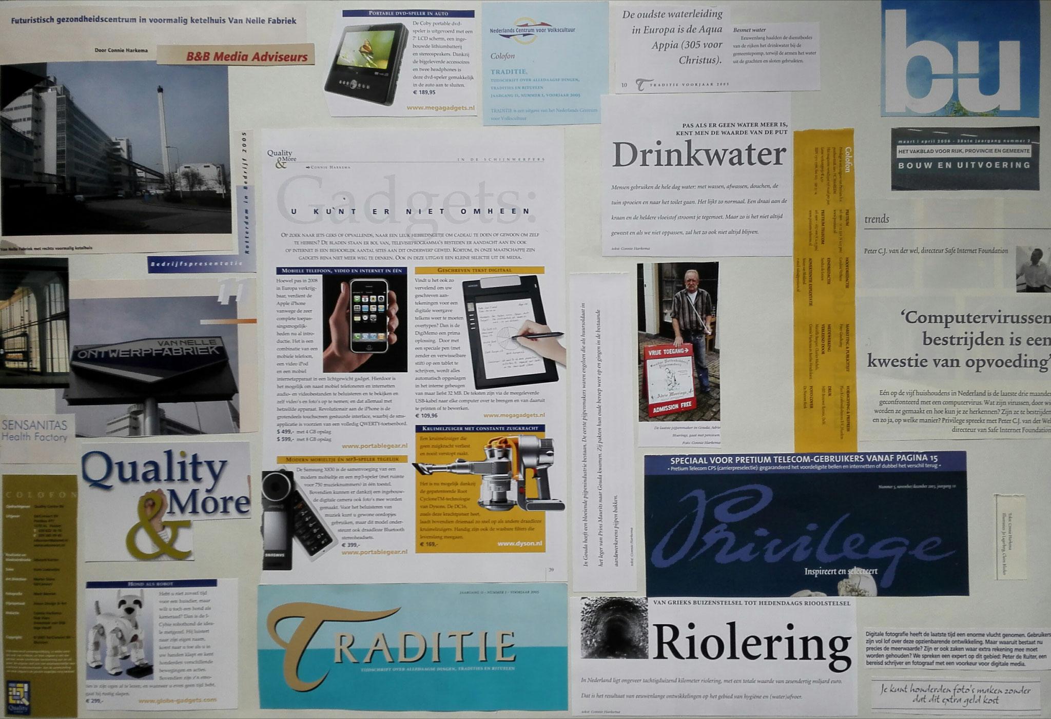een samenstelling van stukjes tekst uit:  Bouw in Uitvoering,  Privilege,  Quality & More,  Rotterdam in Bedrijf en Traditie. De bijbehorende haiku luidt als volgt: Tradities en trends - Ontwerpen en vooruitgaan - Computervirus