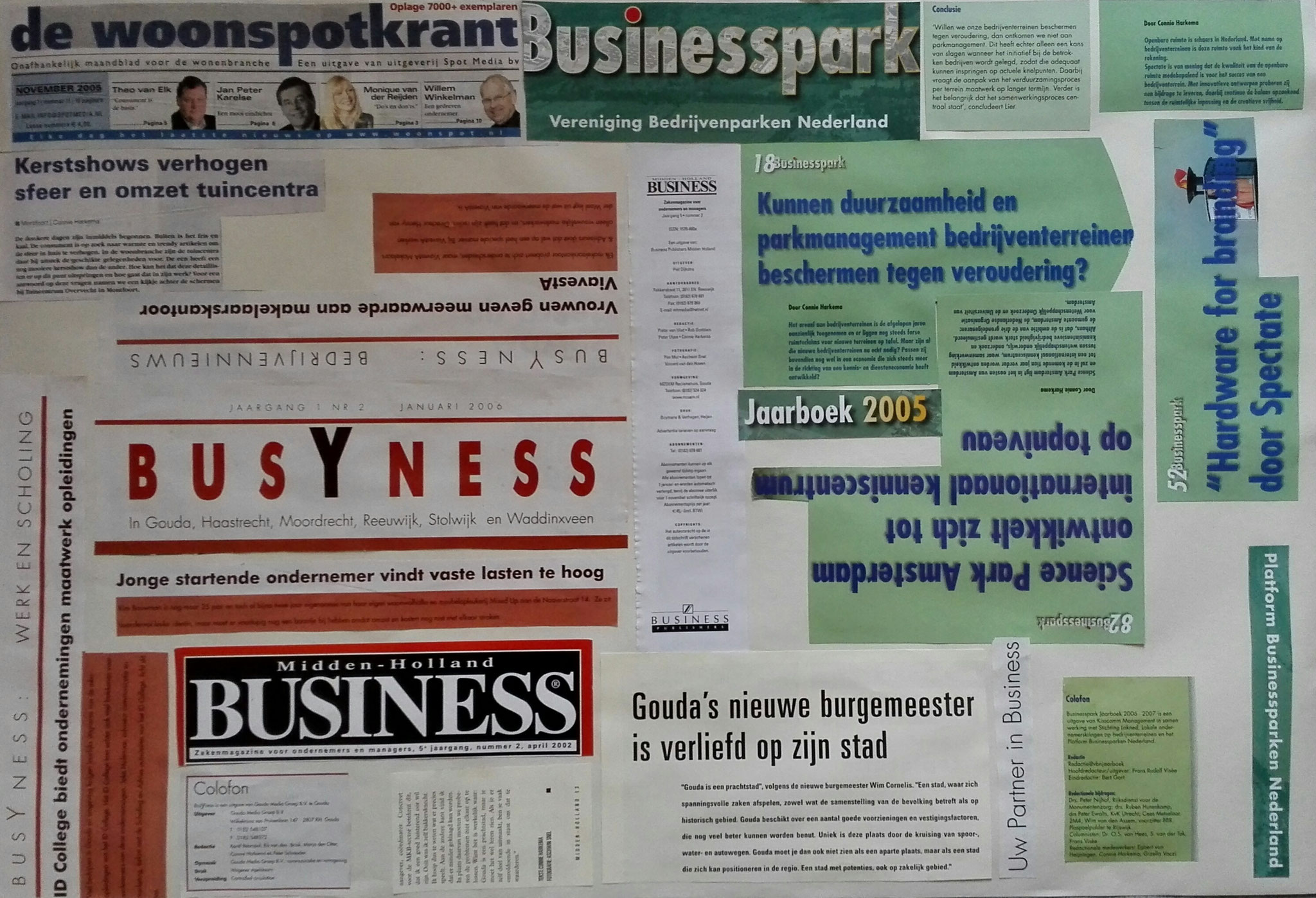 een samenstelling van stukjes tekst uit de zakenmagazines Business en BusYness, het jaarboek Businesspark en de Woonspotkrant.  De bijbehorende haiku luidt als volgt: Busy met business - Zakenpartners onderling - Bedrijfsmatig werk