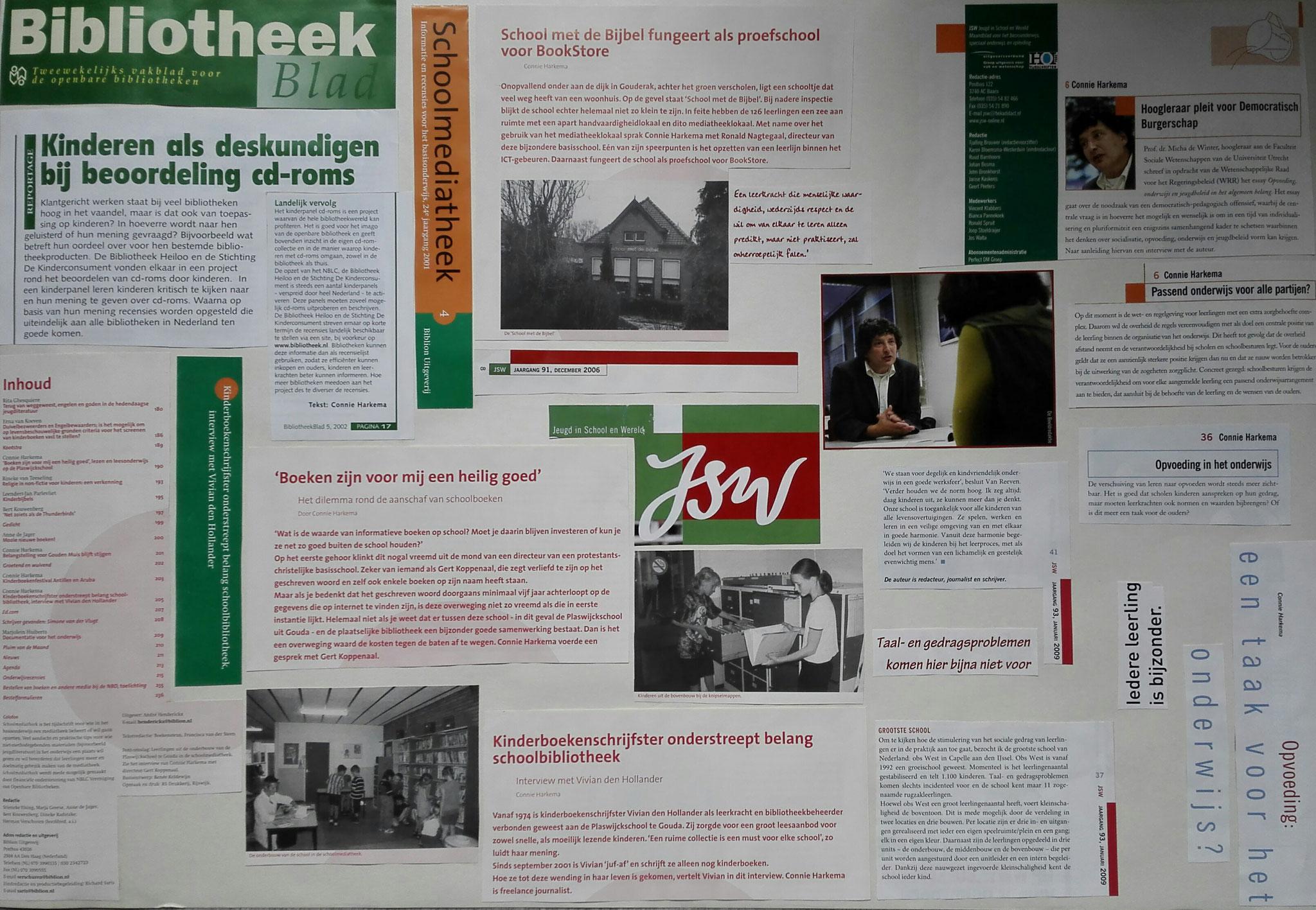 een samenstelling van stukjes tekst uit:  Bibliotheekblad, JSW Jeugd in School en Wereld en Schoolmediatheek. De bijbehorende haiku luidt als volgt: Boek en ICT - Opvoeding en burgerschap - Passend onderwijs