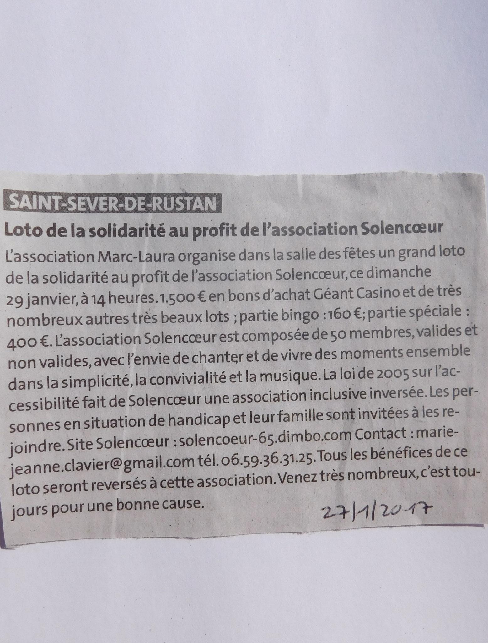 Le loto organisé par L'Associaton Marc-Laura